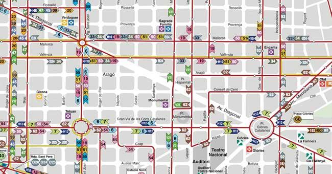Plano de Autobuses urbanos de Barcelona TMB 2018