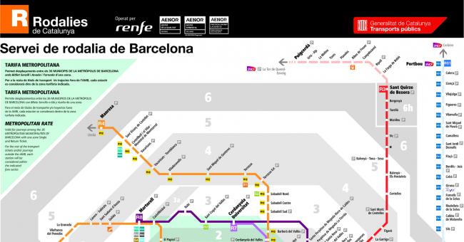 Plano de RENFE Cercanías Barcelona (Rodalíes)