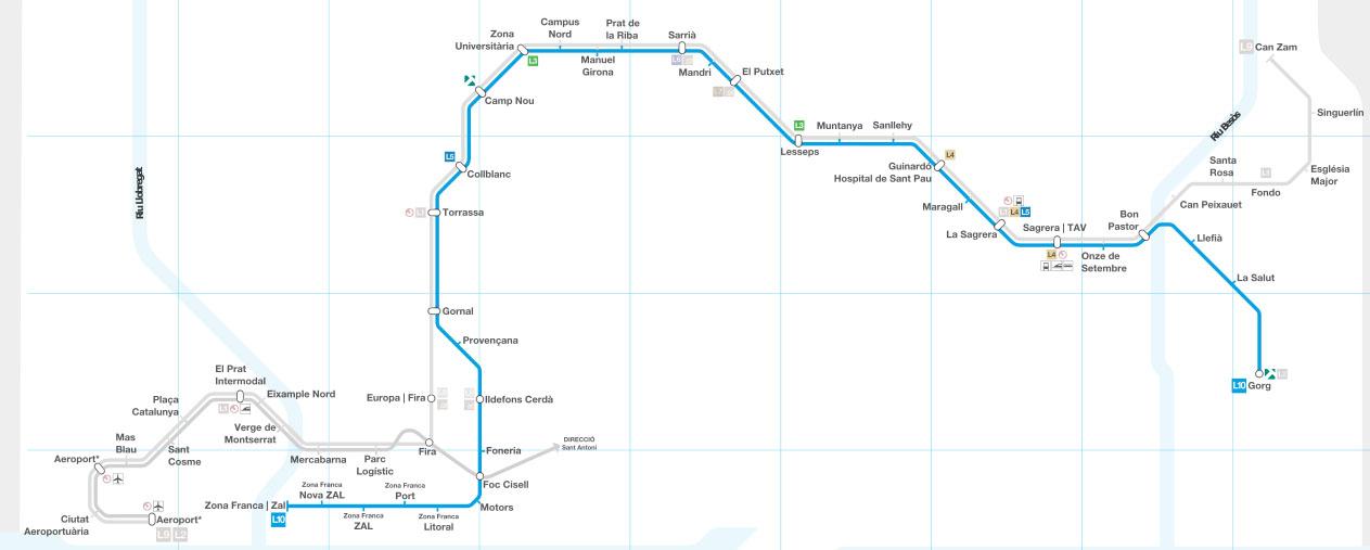 Recorrido esquemático, paradas y correspondencias Línea L10: La Sagrera - Gorg