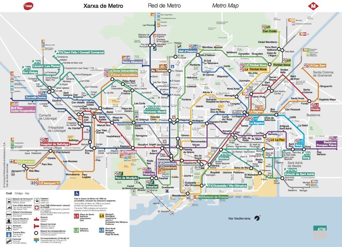Resultado de imagen de xarxa de metro barcelona 2016