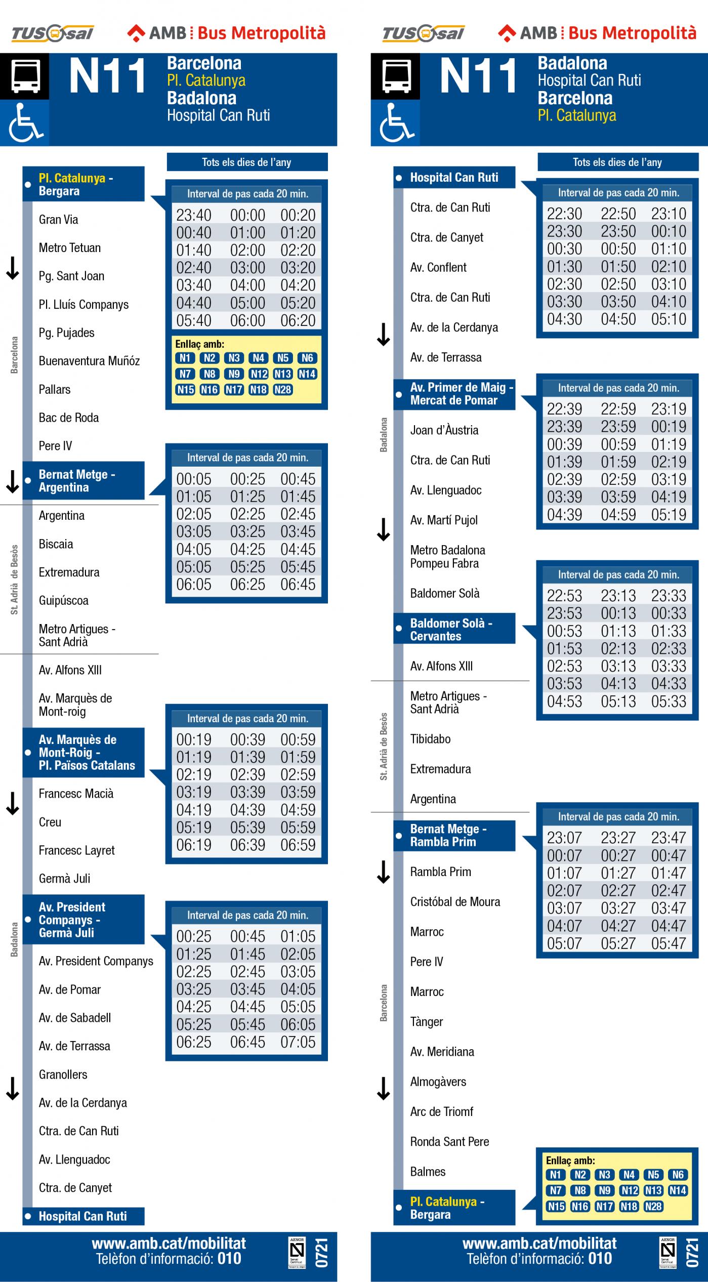 Tabla de horarios y frecuencias de paso Línea N11: Barcelona (Plaça Catalunya) - Badalona (Hospital Can Ruti)