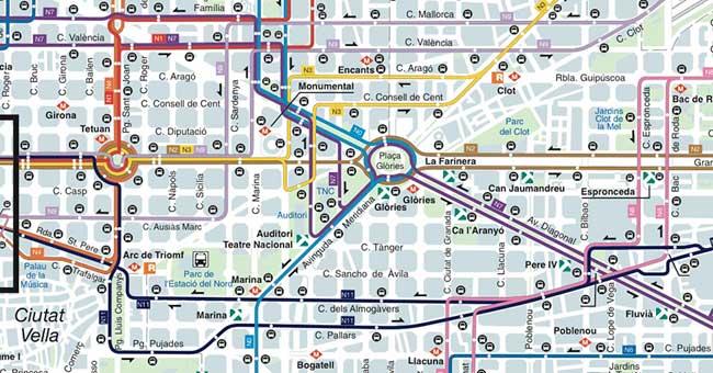 Plano de Autobuses nocturnos de Barcelona NitBus 2018