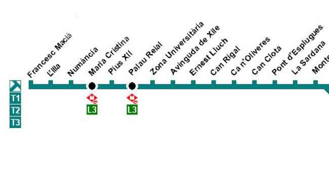 L nea t3 tranv a de barcelona tram for Linea barcelona