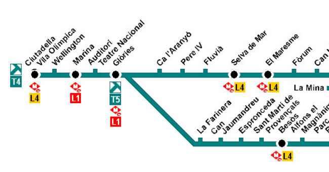 L nea t5 tranv a de barcelona tram for Linea barcelona
