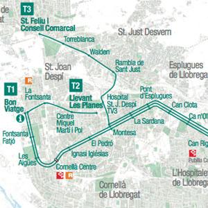 Plano Del Tranvia De Barcelona Tram 2020
