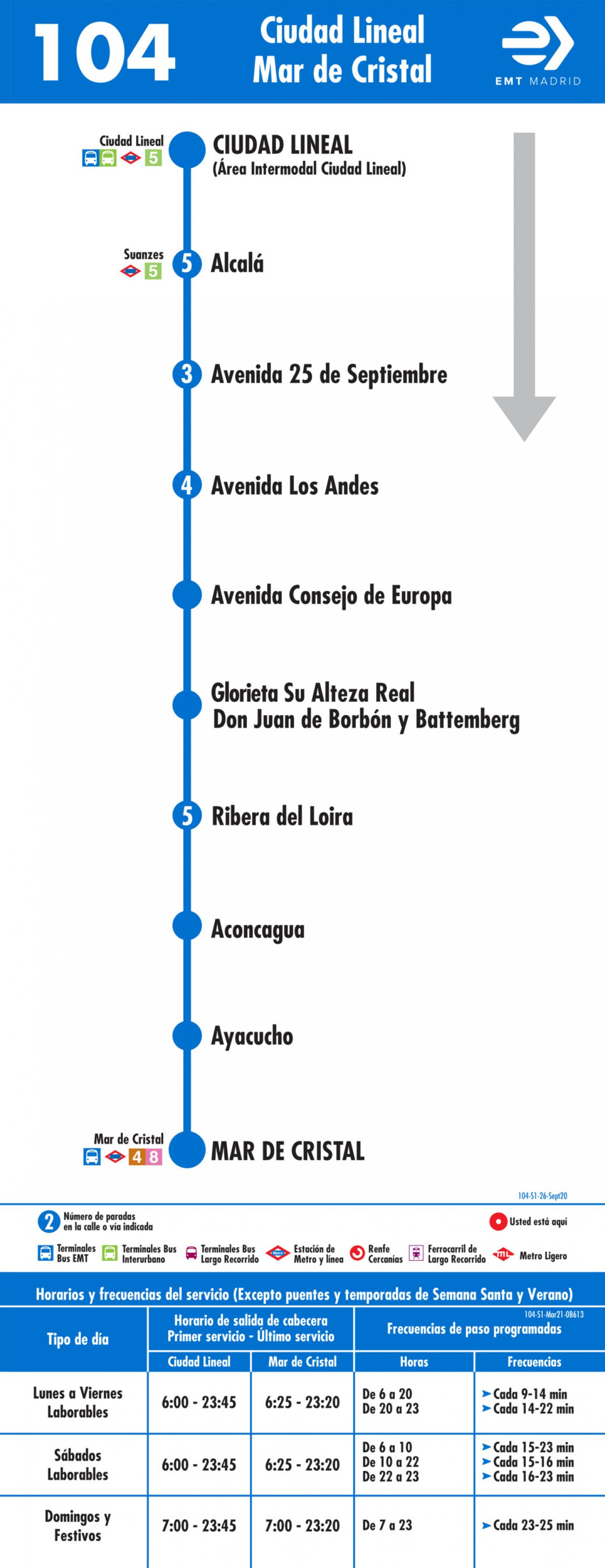 Tabla de horarios y frecuencias de paso en sentido ida Línea 104: Plaza de Ciudad Lineal - Mar de Cristal