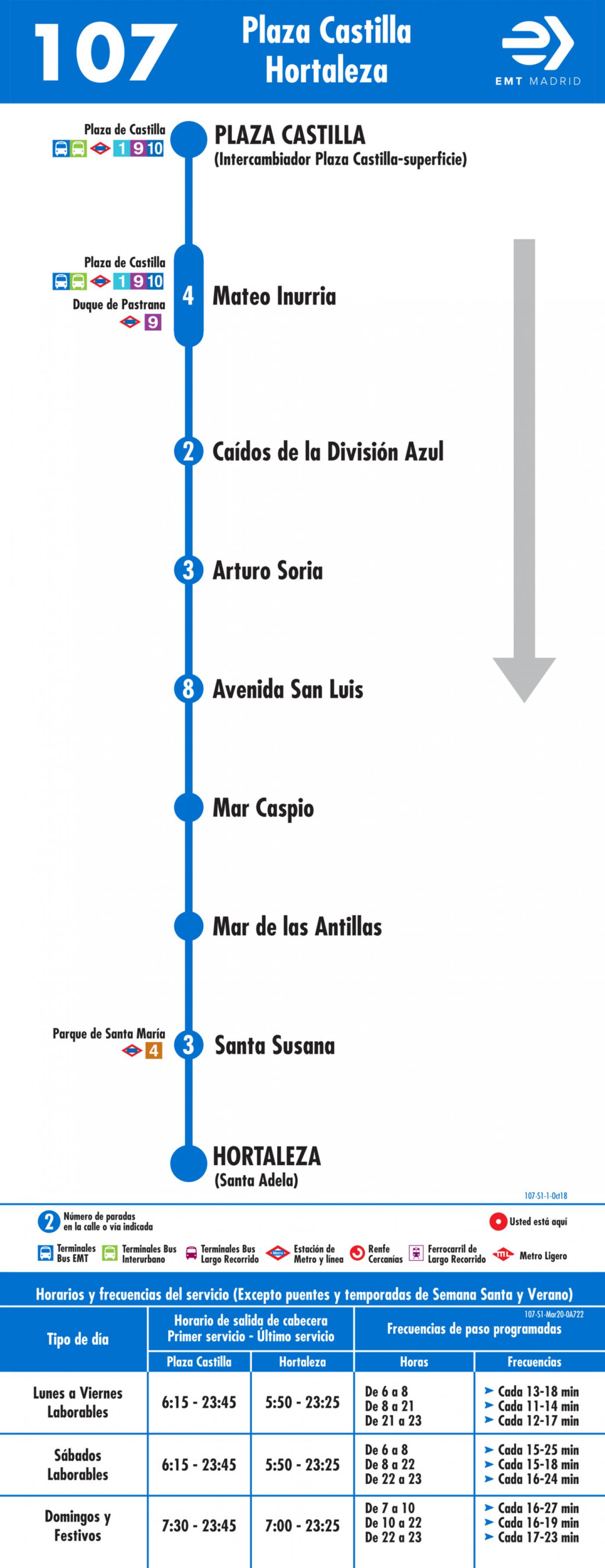 Tabla de horarios y frecuencias de paso en sentido ida Línea 107: Plaza de Castilla - Hortaleza