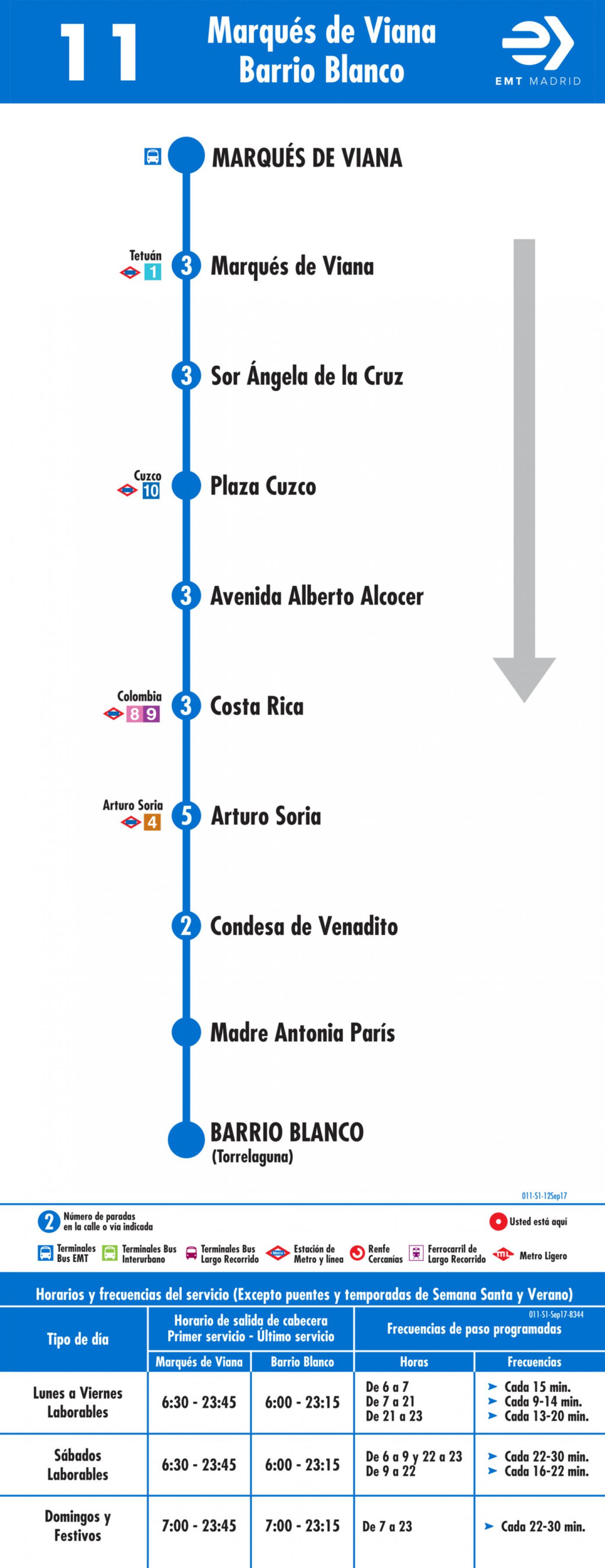 Tabla de horarios y frecuencias de paso en sentido ida Línea 11: Marqués de Viana - Barrio Blanco