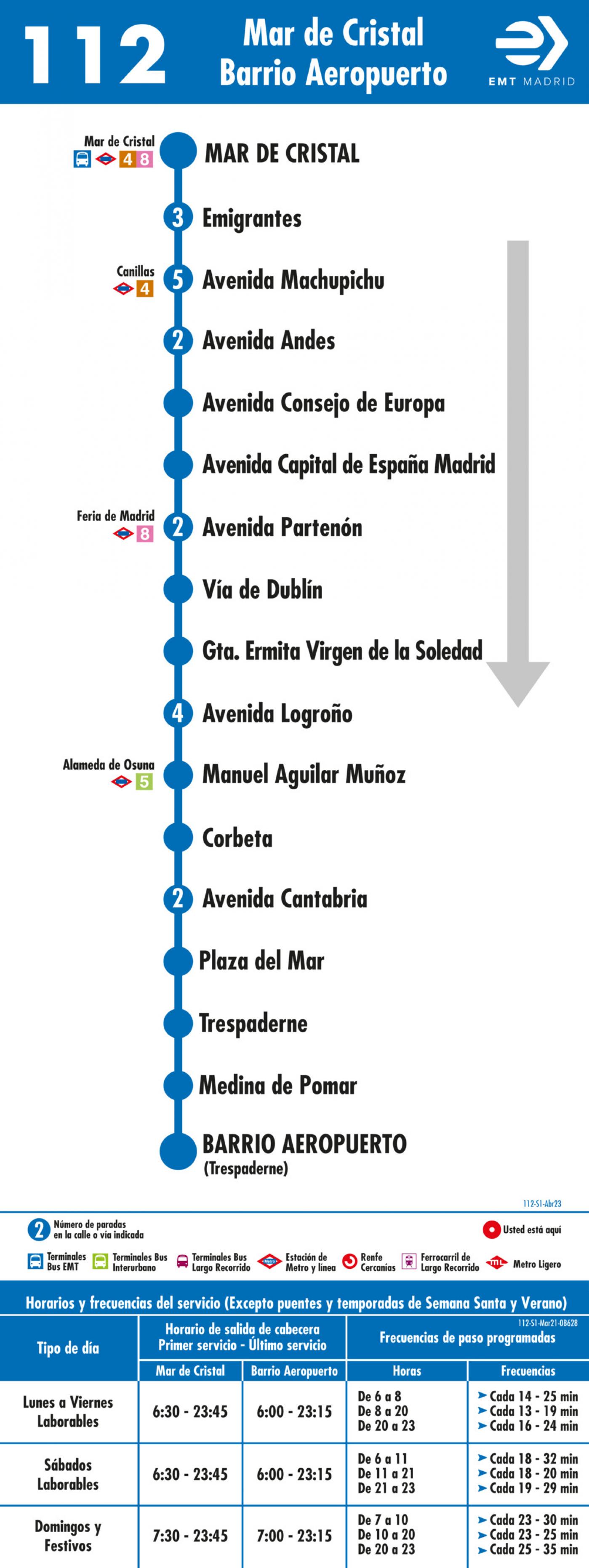 Tabla de horarios y frecuencias de paso en sentido ida Línea 112: Mar de Cristal - Barrio del Aeropuerto