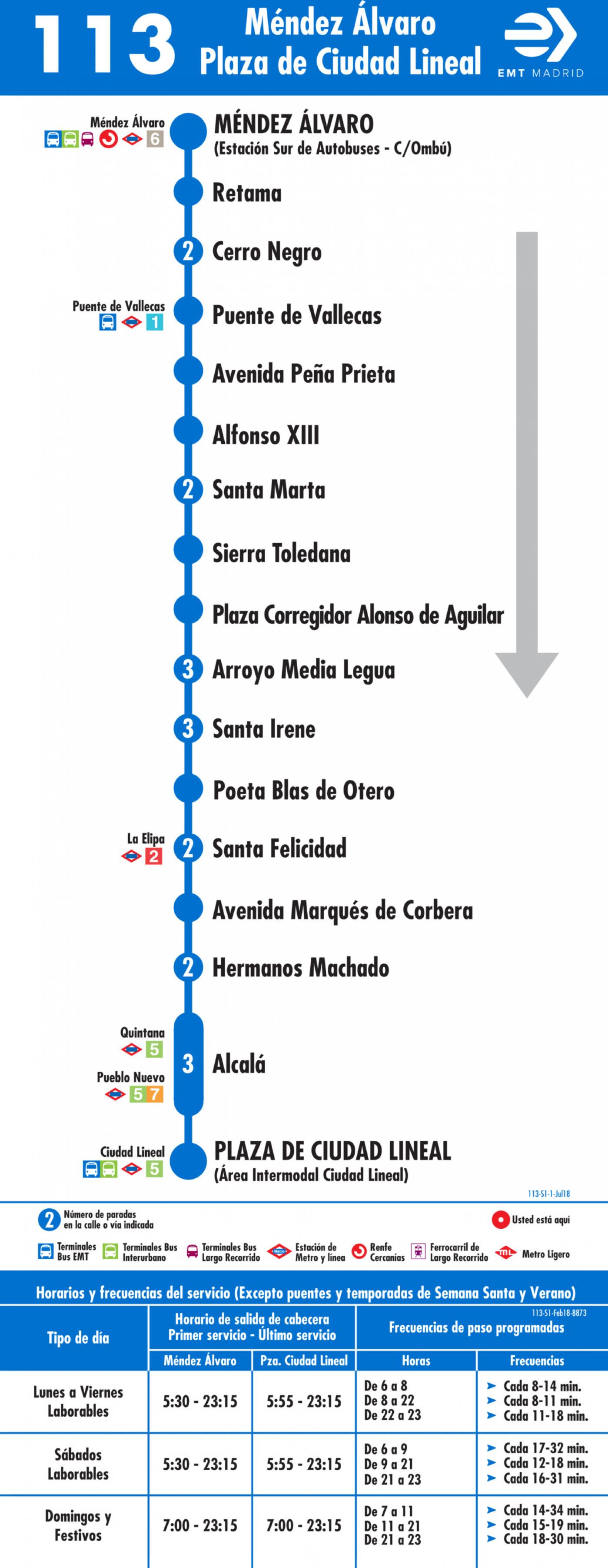 Tabla de horarios y frecuencias de paso en sentido ida Línea 113: Méndez Álvaro - Plaza de Ciudad Lineal
