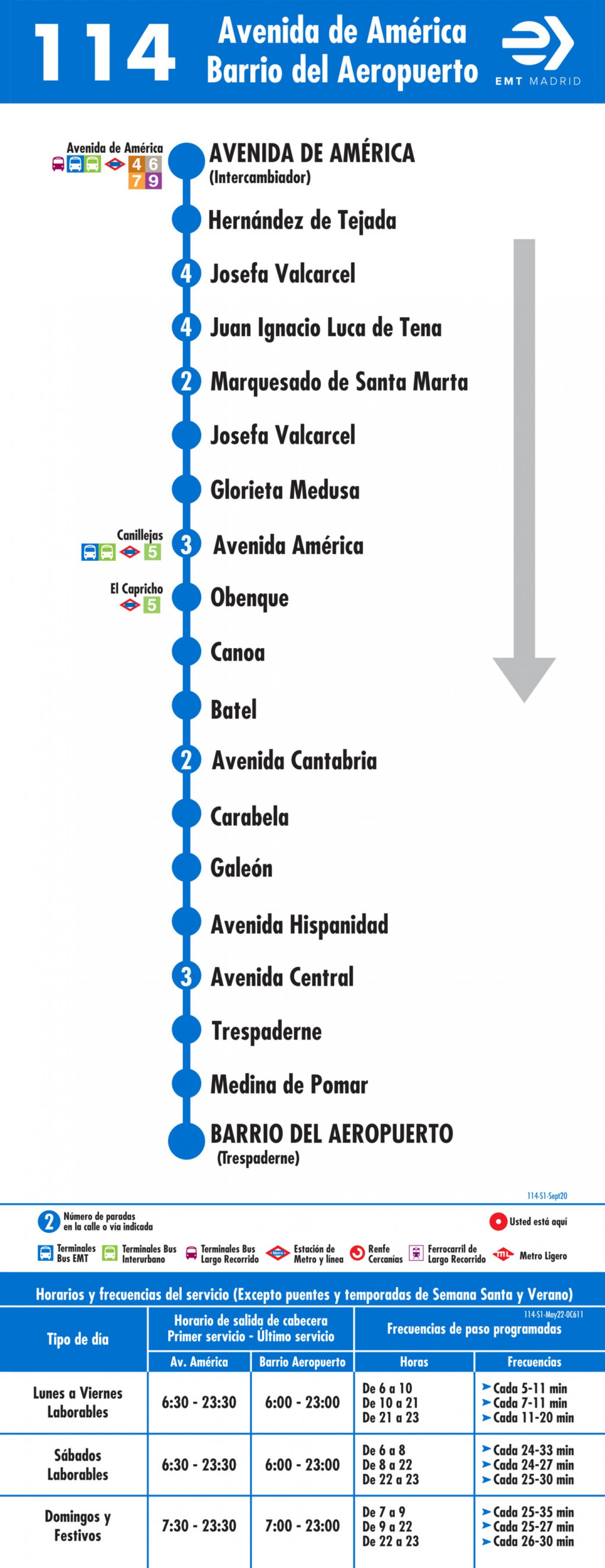 Tabla de horarios y frecuencias de paso en sentido ida Línea 114: Avenida de América - Barrio del Aeropuerto