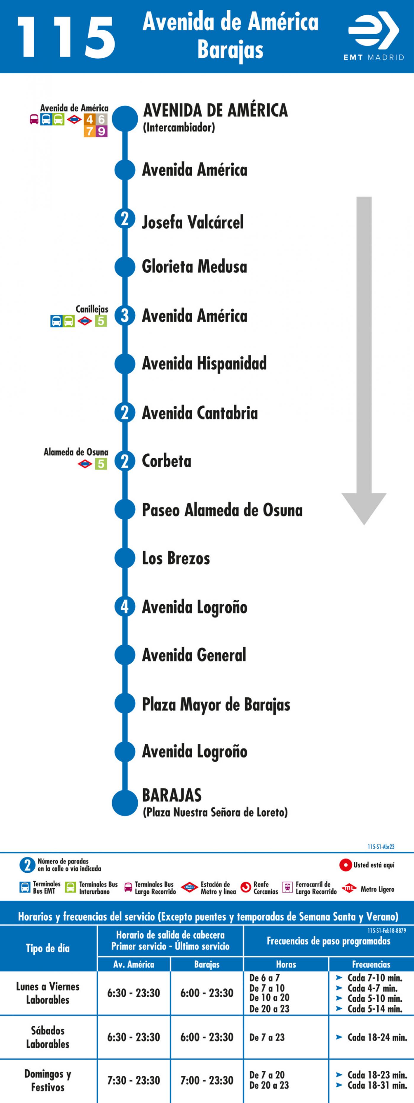Tabla de horarios y frecuencias de paso en sentido ida Línea 115: Avenida de América - Barajas