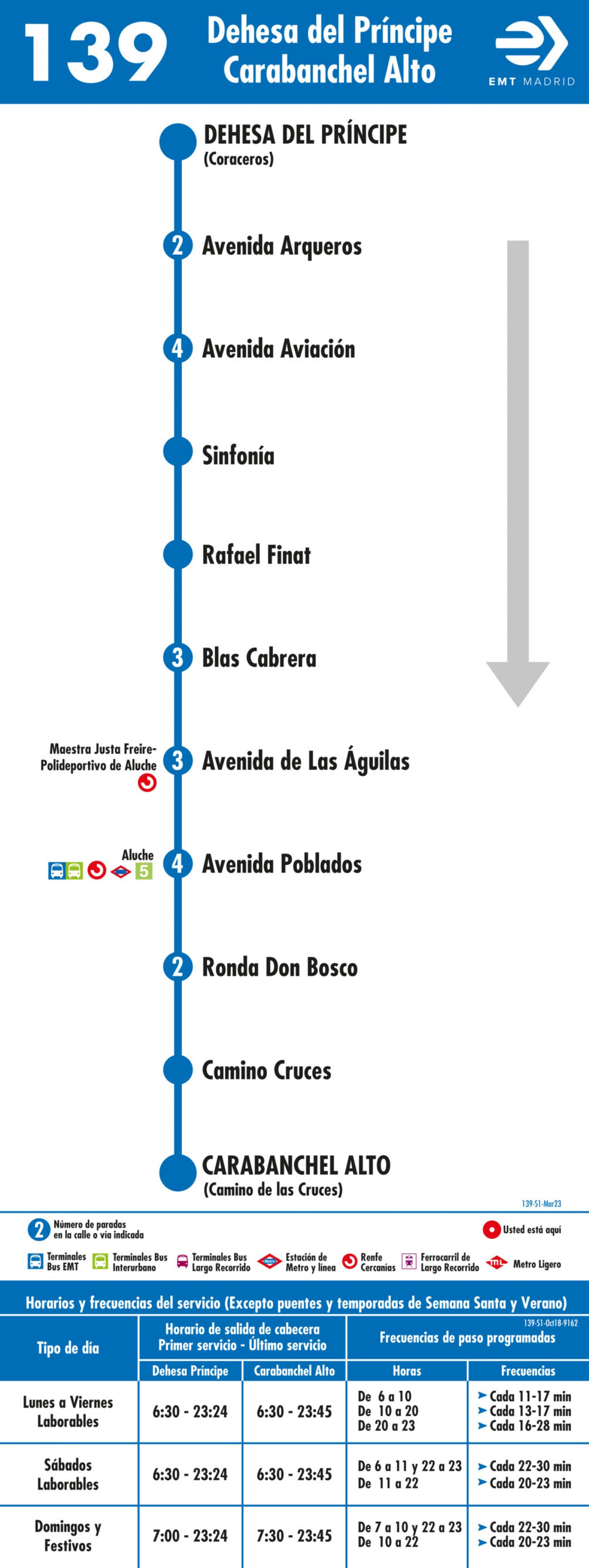 Tabla de horarios y frecuencias de paso en sentido ida Línea 139: Dehesa del Príncipe - Carabanchel Alto