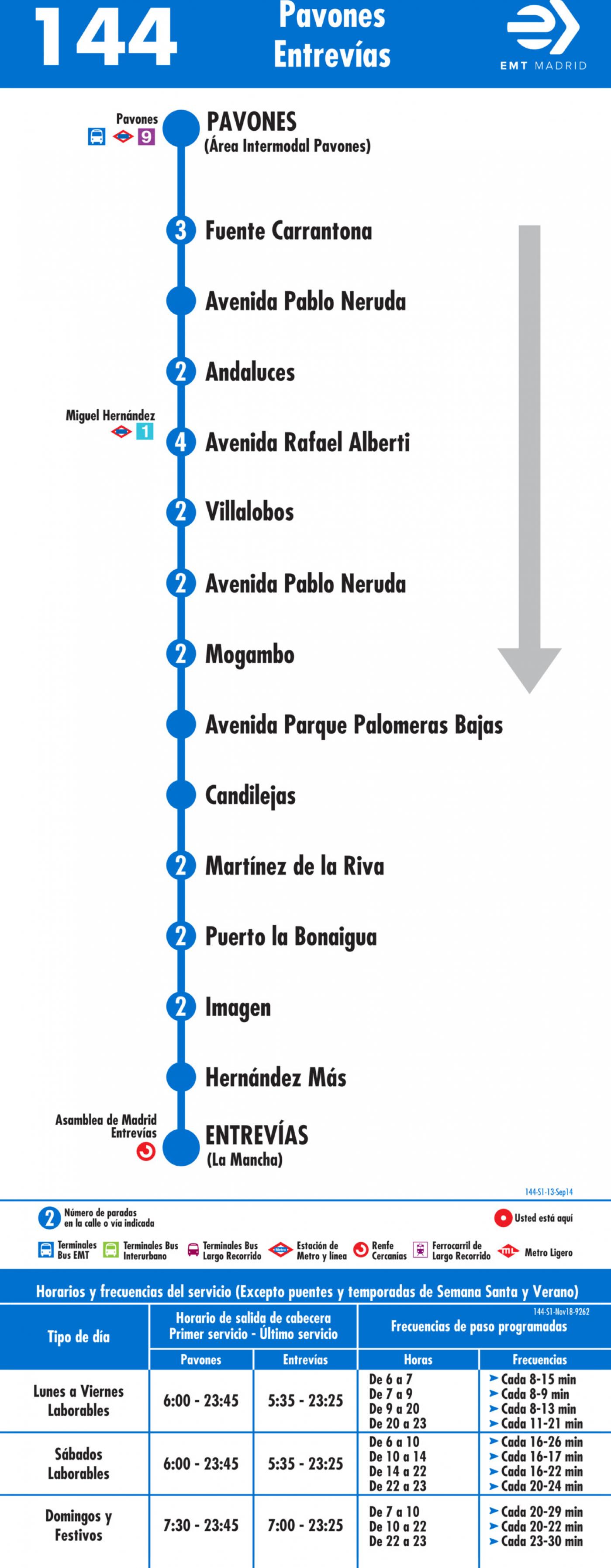 Tabla de horarios y frecuencias de paso en sentido ida Línea 144: Pavones - Entrevías