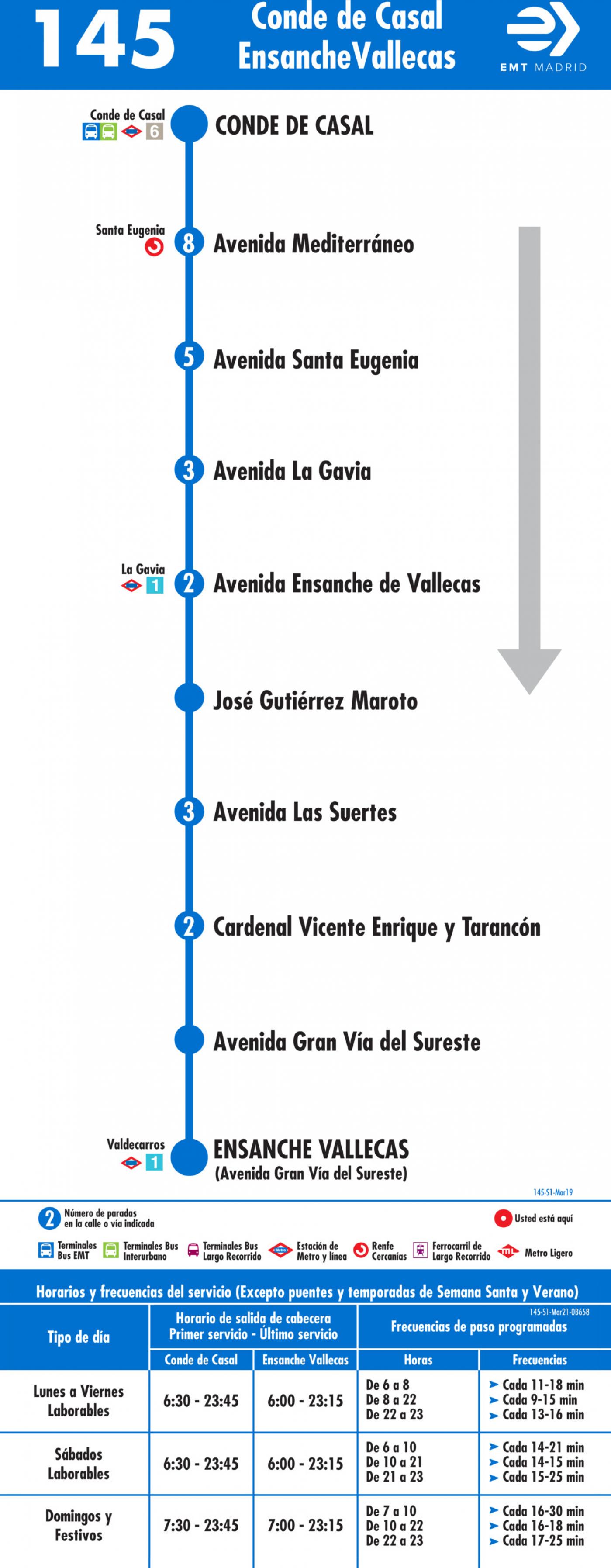 Tabla de horarios y frecuencias de paso en sentido ida Línea 145: Plaza del Conde de Casal - Ensanche de Vallecas