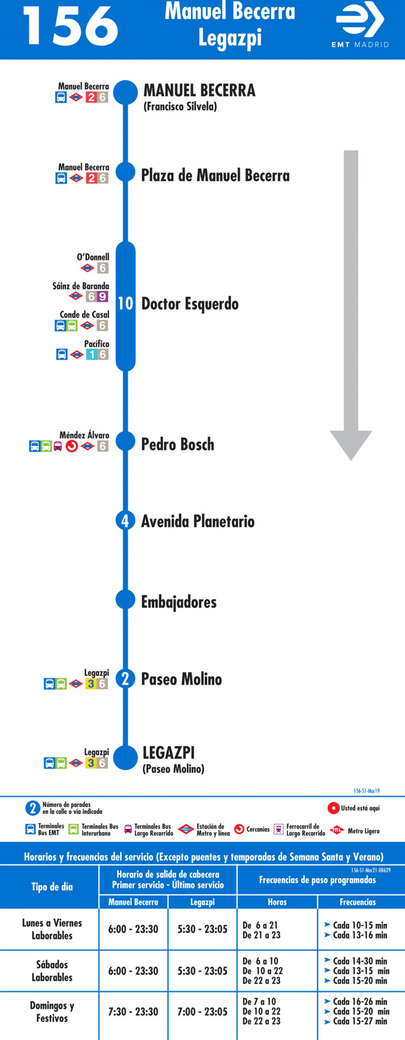 Tabla de horarios y frecuencias de paso en sentido ida Línea 156: Plaza de Manuel Becerra - Plaza de Legazpi