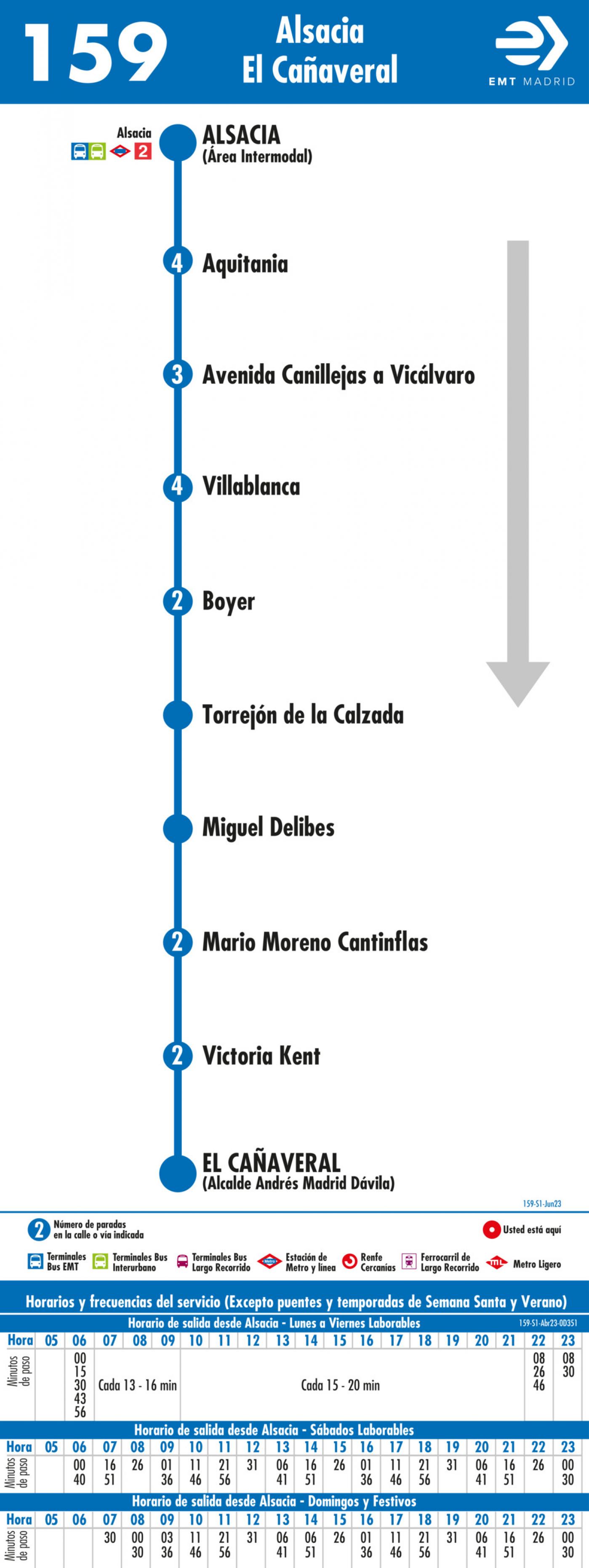 Tabla de horarios y frecuencias de paso en sentido ida Línea 159: Alsacia - El Cañaveral