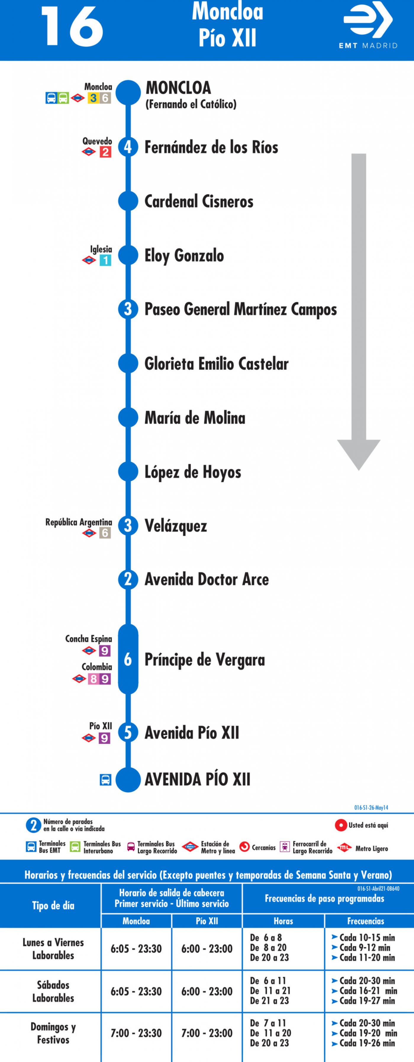 Tabla de horarios y frecuencias de paso en sentido ida Línea 16: Moncloa - Avenida de Pío XII