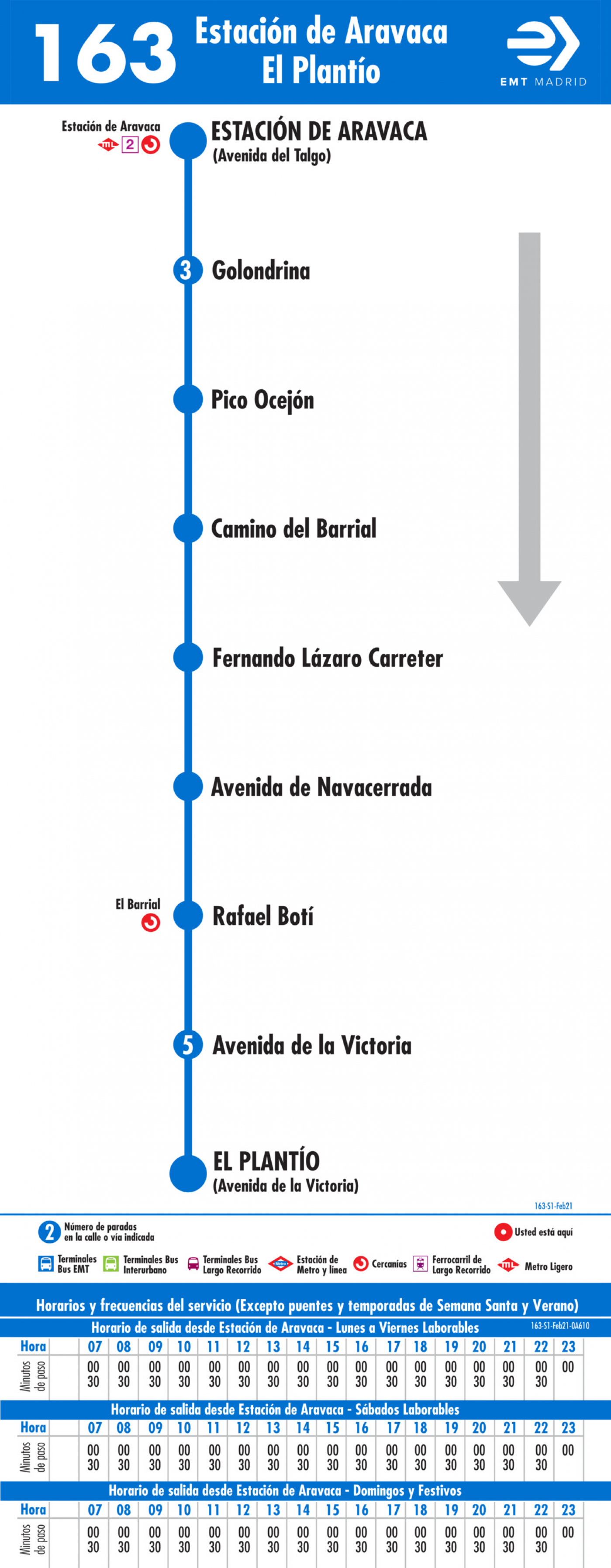 Tabla de horarios y frecuencias de paso en sentido ida Línea 163: Estación de Aravaca - El Plantío