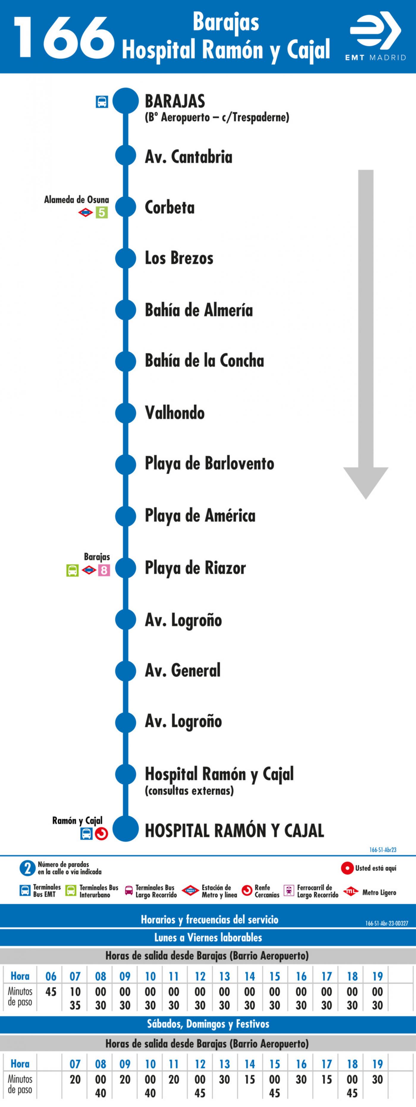 Tabla de horarios y frecuencias de paso en sentido ida Línea 166: Barajas - Hospital Ramón y Cajal