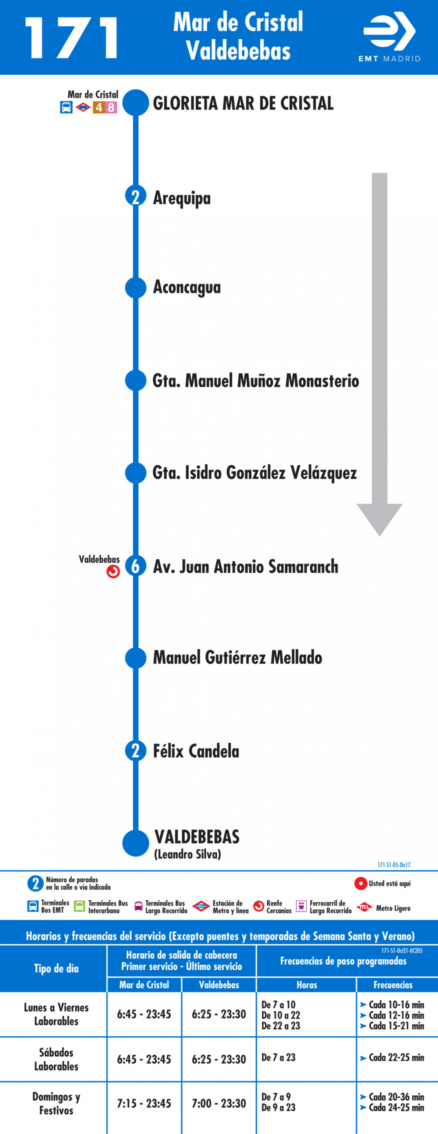 Tabla de horarios y frecuencias de paso en sentido ida Línea 171: Mar de Cristal - Valdebebas
