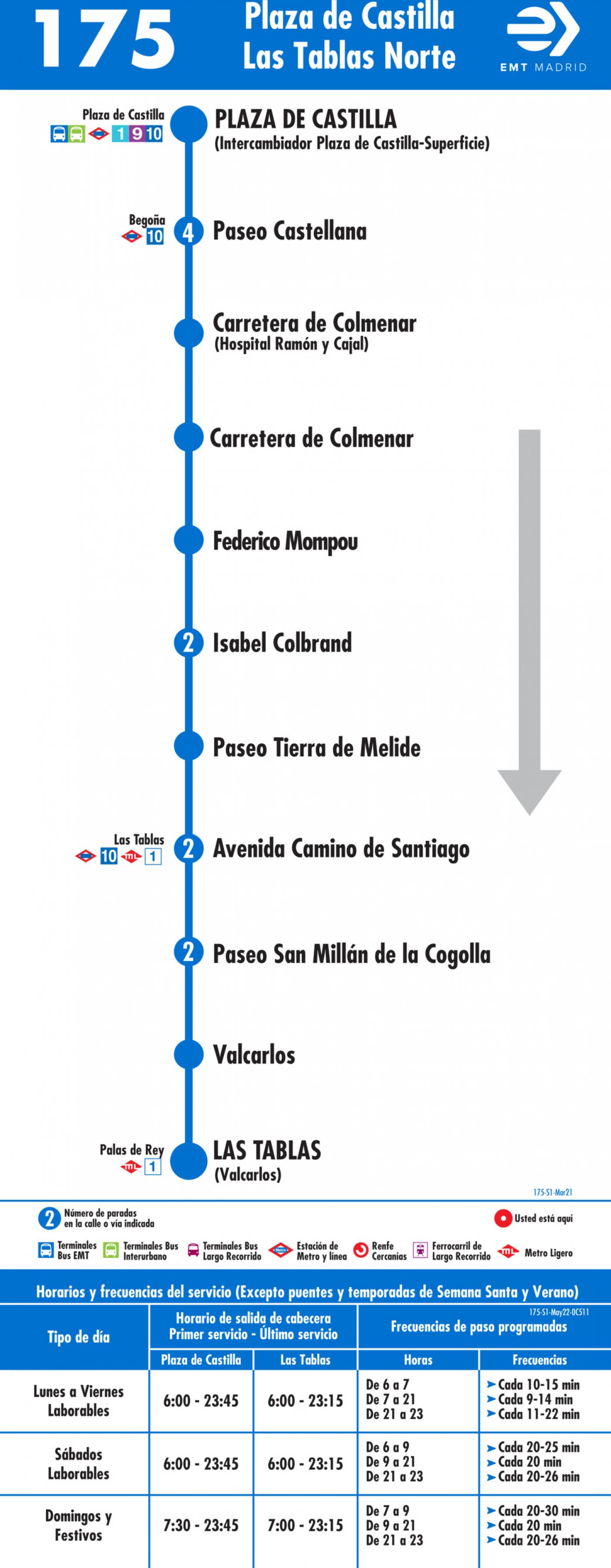 Tabla de horarios y frecuencias de paso en sentido ida Línea 175: Plaza Castilla - Las Tablas Norte