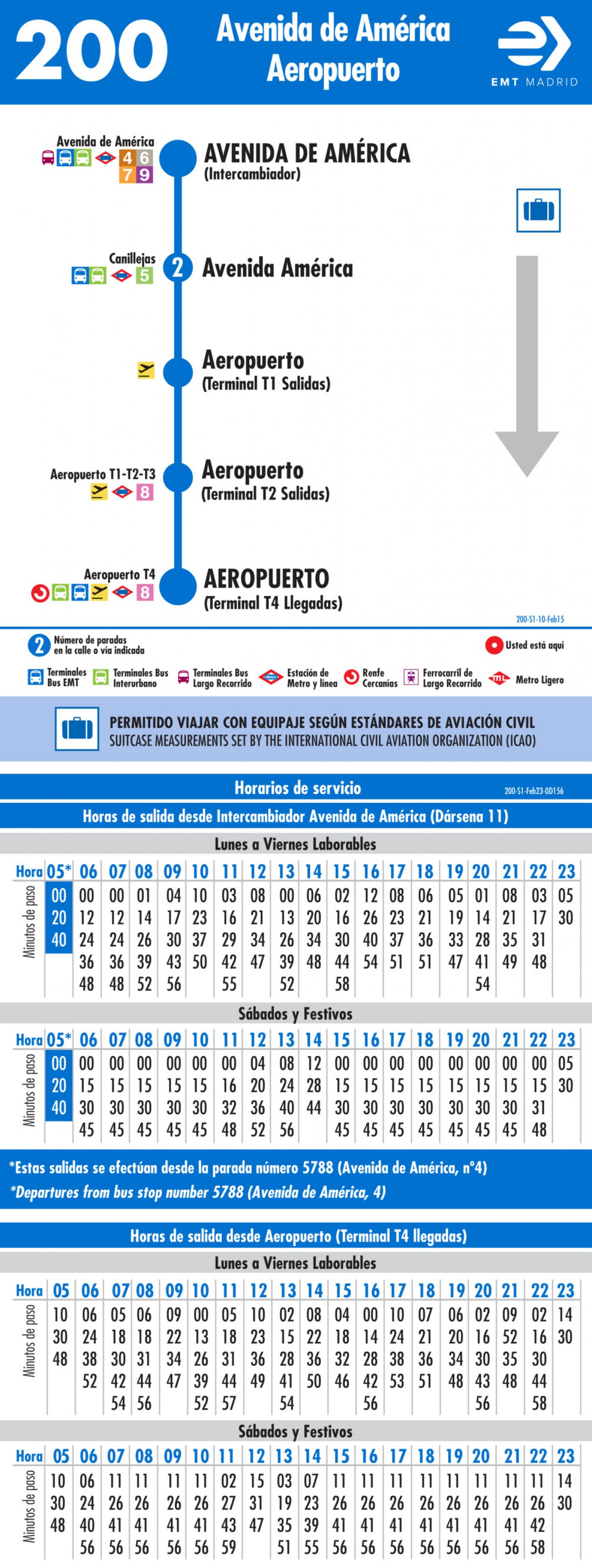 Tabla de horarios y frecuencias de paso en sentido ida Línea 200: Avenida de América - Aeropuerto