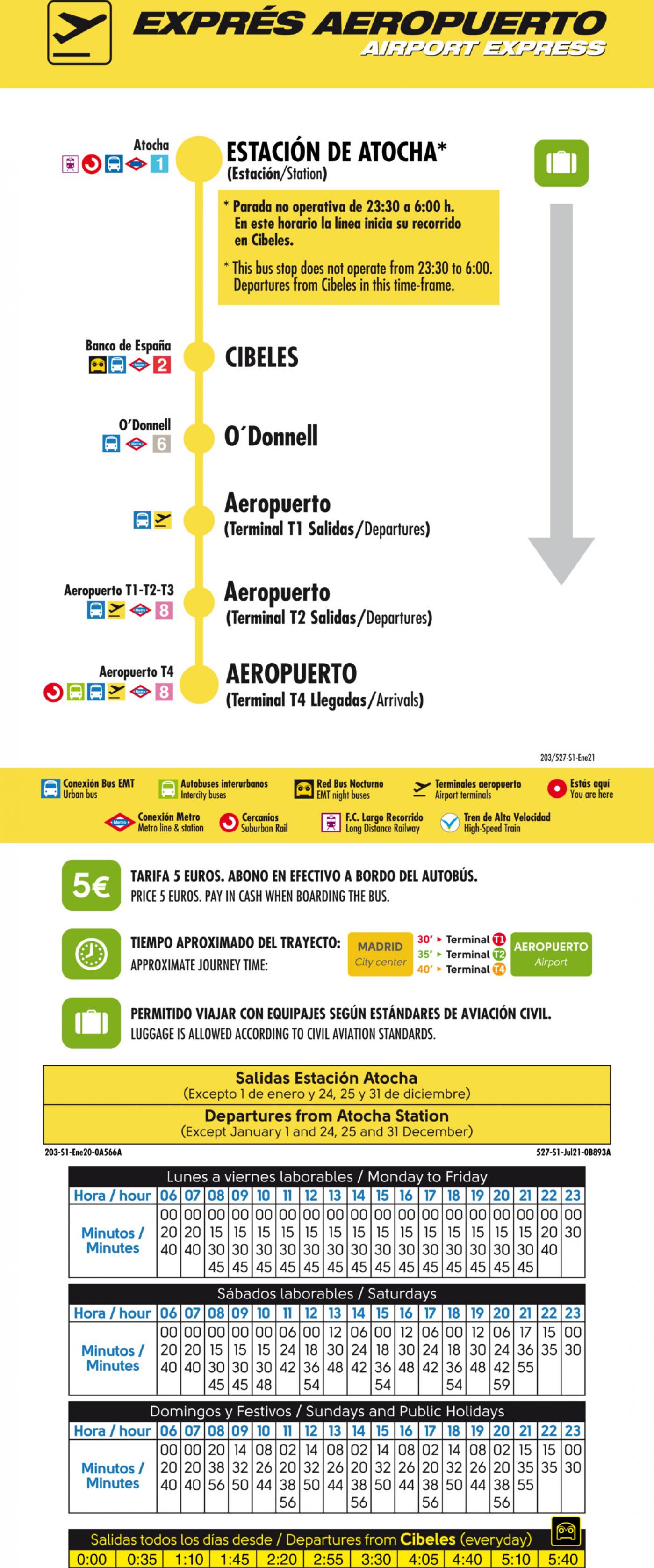 Tabla de horarios y frecuencias de paso en sentido ida Línea 203: Exprés Aeropuerto Barajas