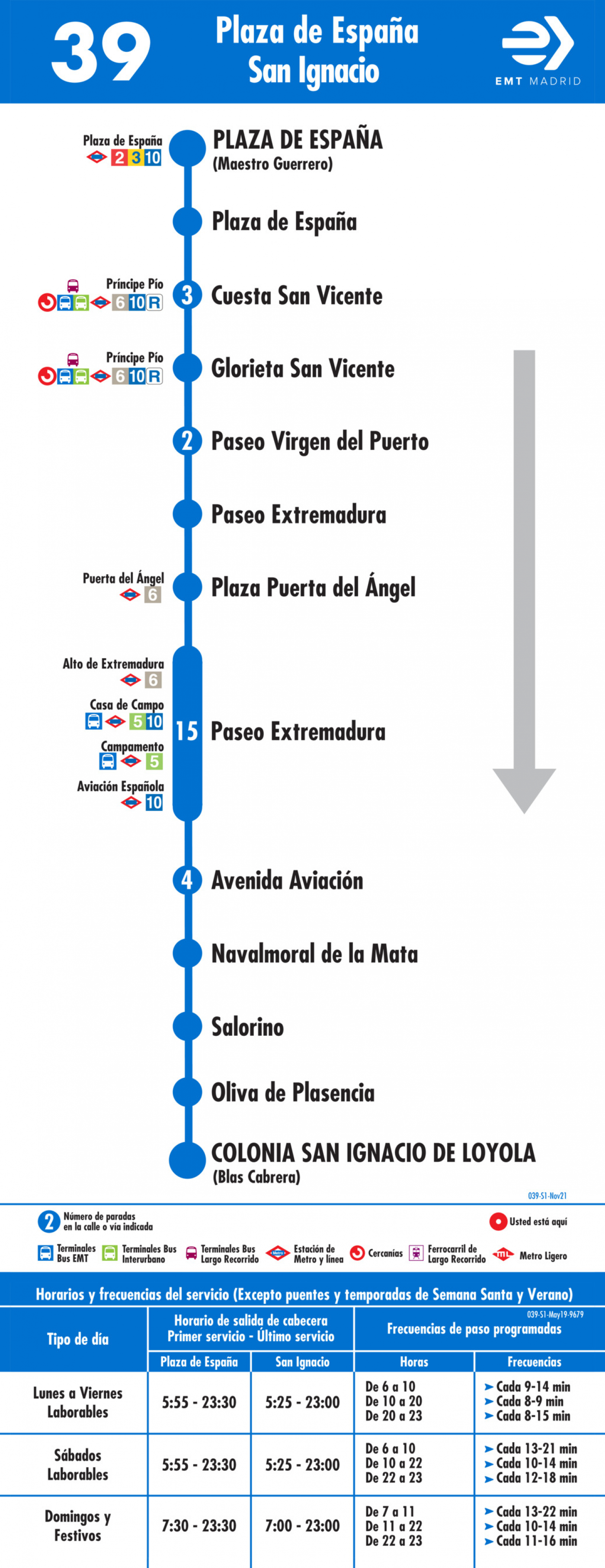 Tabla de horarios y frecuencias de paso en sentido ida Línea 39: Ópera - Colonia San Ignacio de Loyola