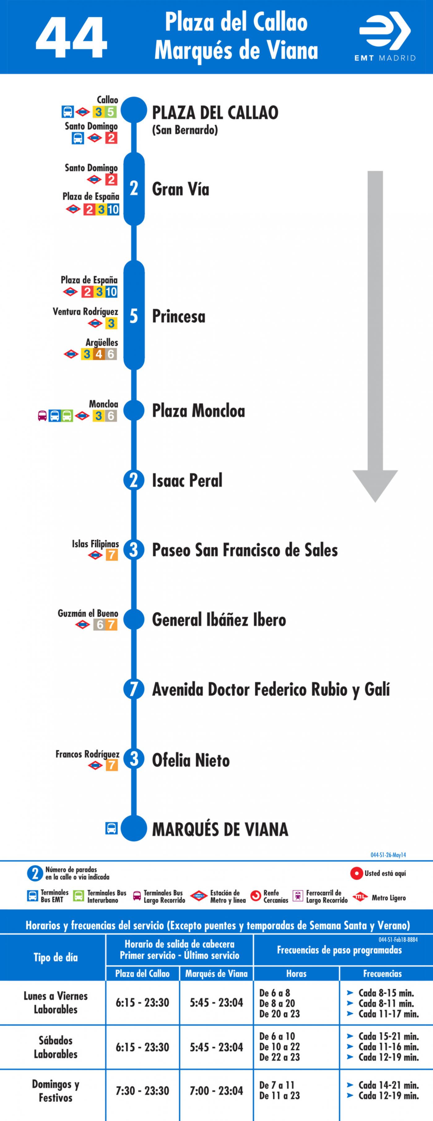 Tabla de horarios y frecuencias de paso en sentido ida Línea 44: Plaza del Callao - Marqués de Viana