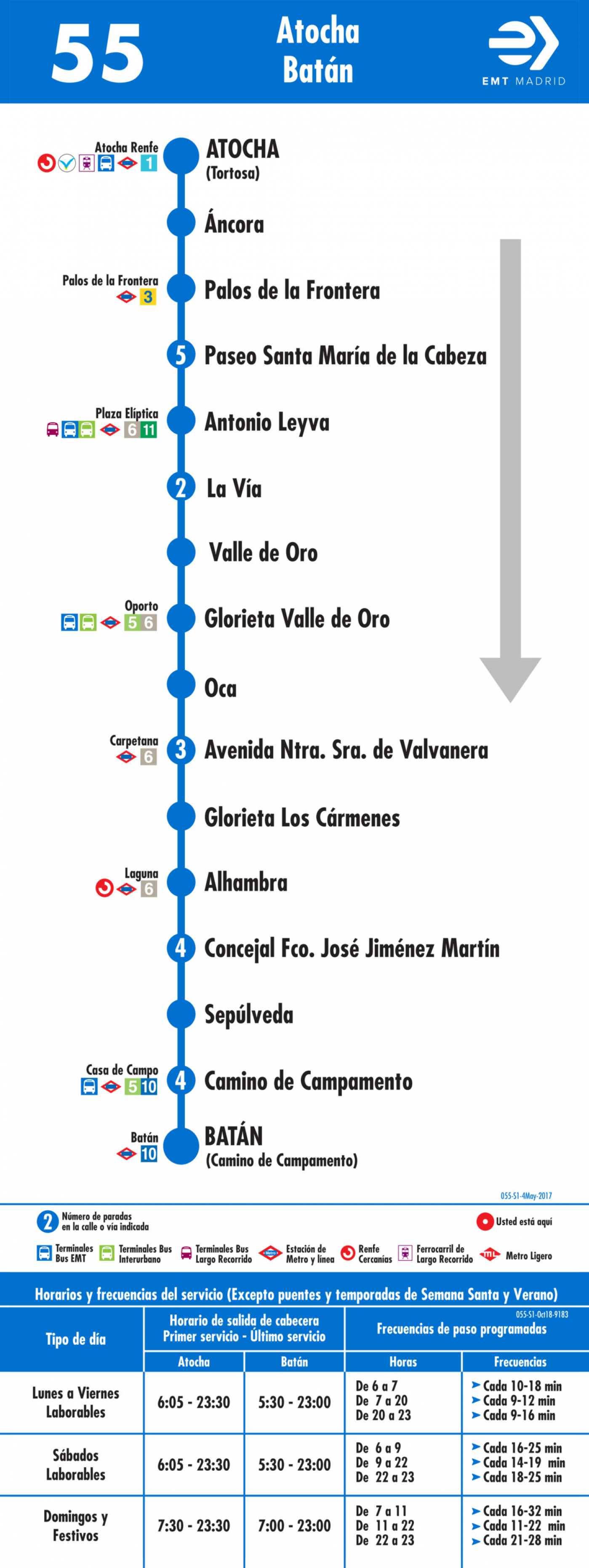 Tabla de horarios y frecuencias de paso en sentido ida Línea 55: Atocha - Batán
