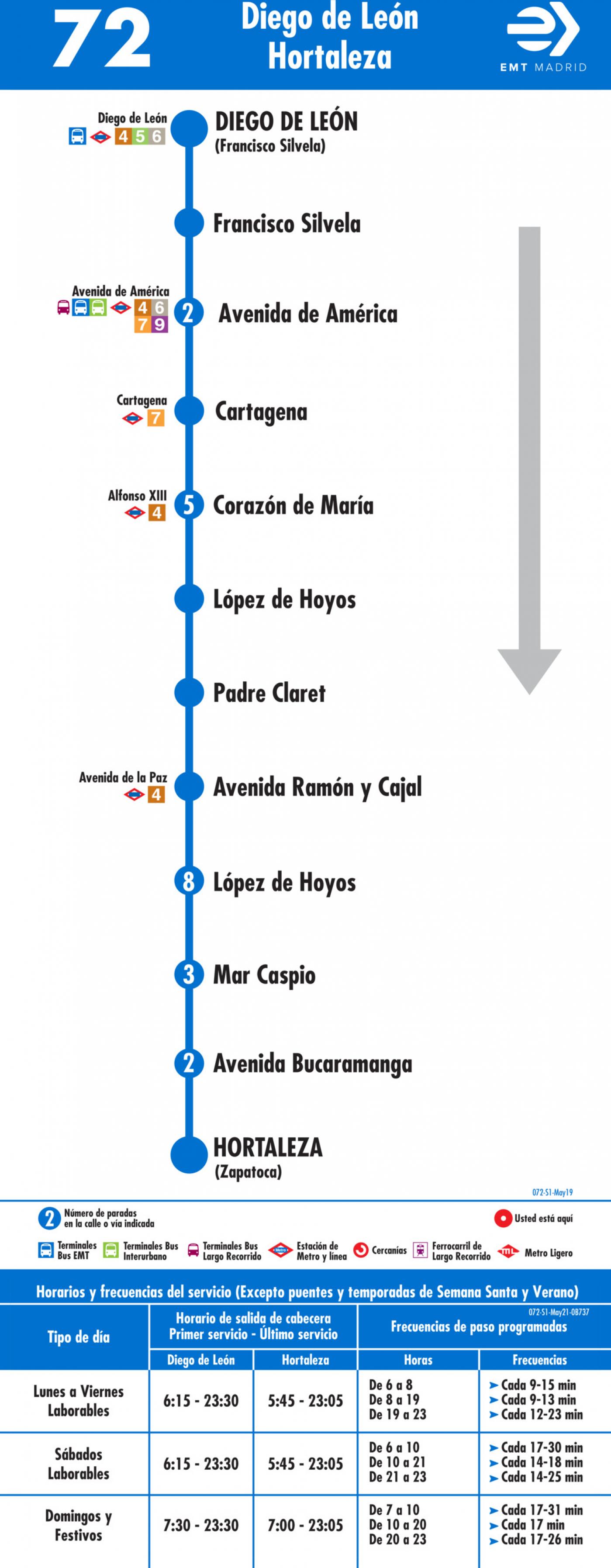 Tabla de horarios y frecuencias de paso en sentido ida Línea 72: Diego de León-Hortaleza