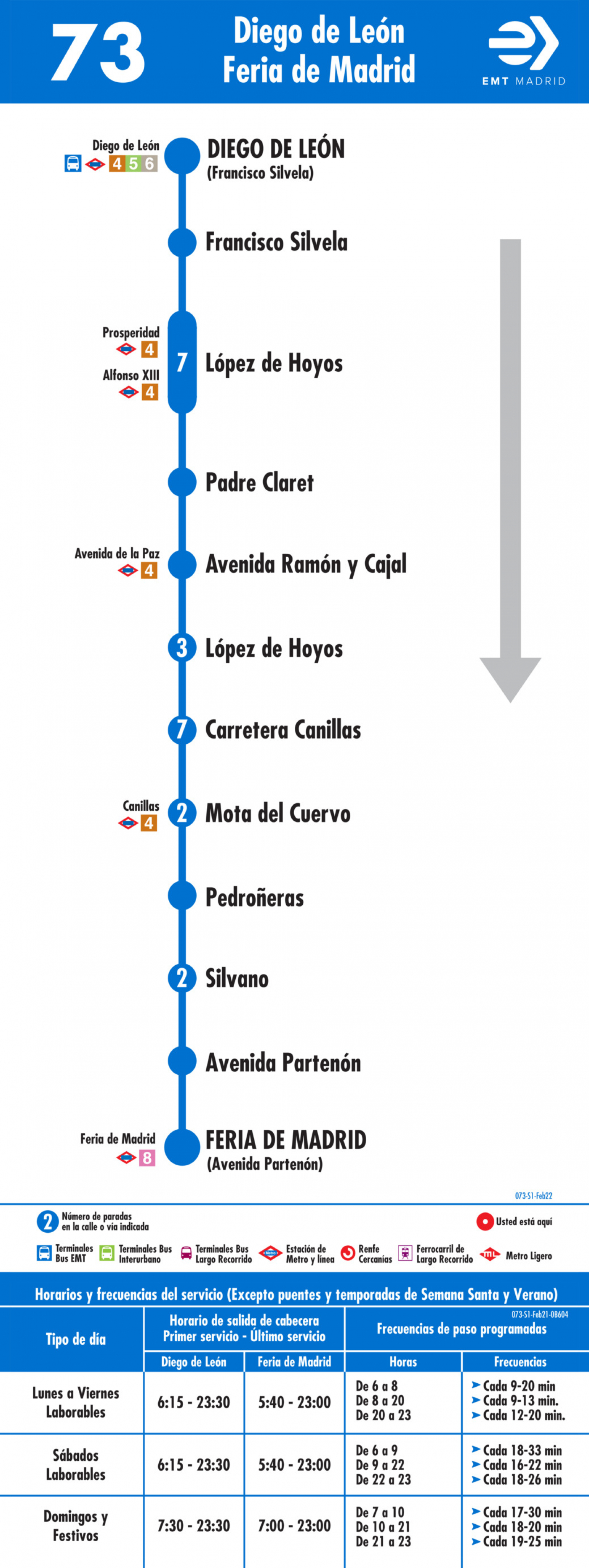 Tabla de horarios y frecuencias de paso en sentido ida Línea 73: Diego de León-Canillas