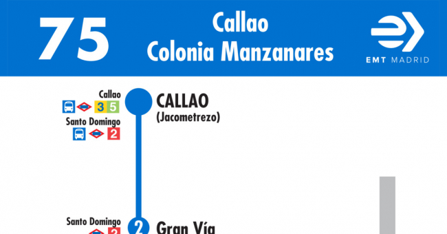 Horarios de l nea 75 de emt plaza del callao colonia for Horario oficina emt malaga