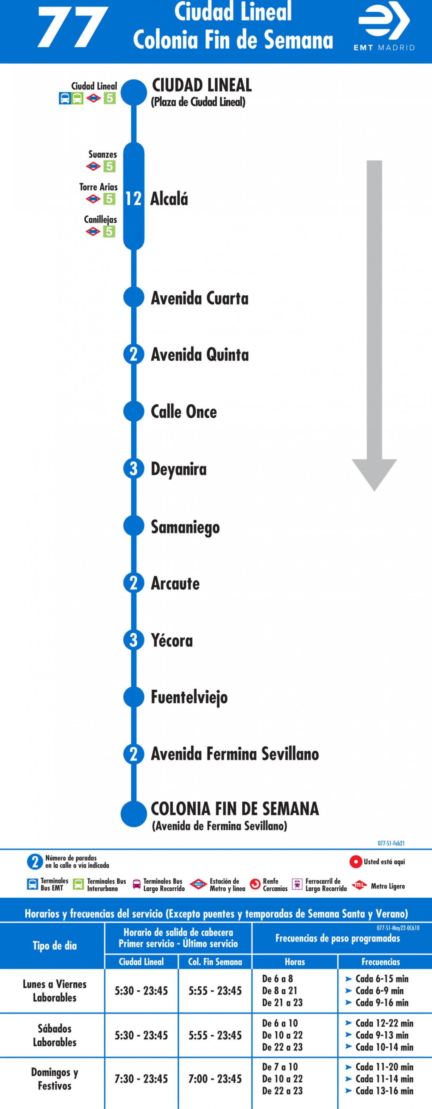 Tabla de horarios y frecuencias de paso en sentido ida Línea 77: Plaza de Ciudad Lineal - Colonia Fin de Semana