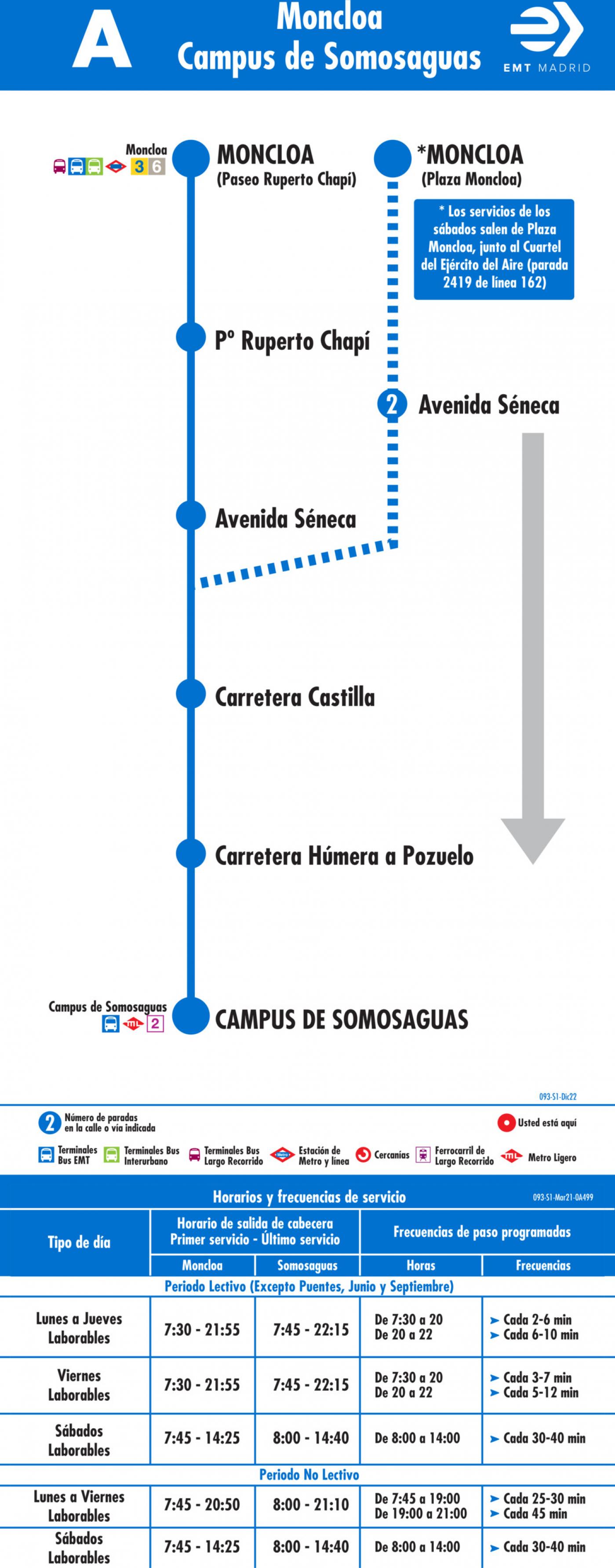 Tabla de horarios y frecuencias de paso en sentido ida Línea A: Moncloa - Campus de Somosaguas