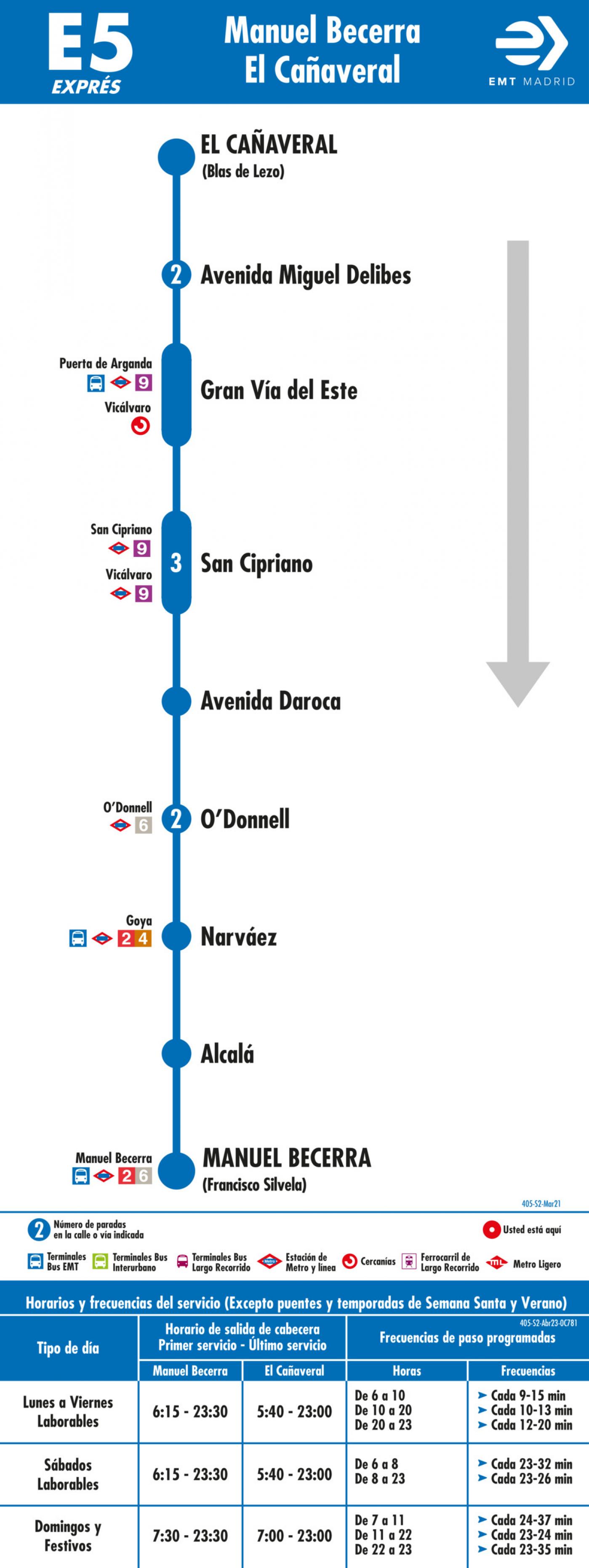 Tabla de horarios y frecuencias de paso en sentido ida Línea E5: Plaza de Manuel Becerra - El Cañaveral