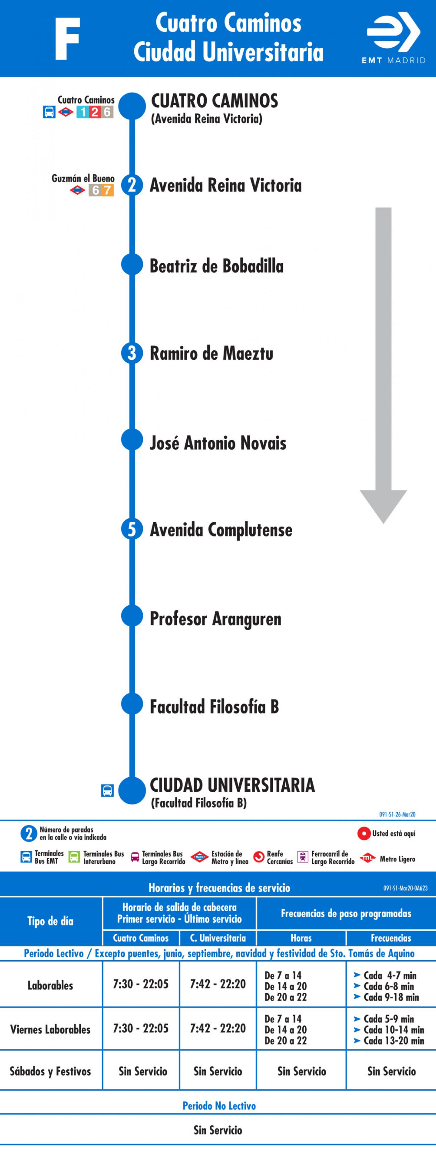 Tabla de horarios y frecuencias de paso en sentido ida Línea F: Glorieta de Cuatro Caminos - Ciudad Universitaria