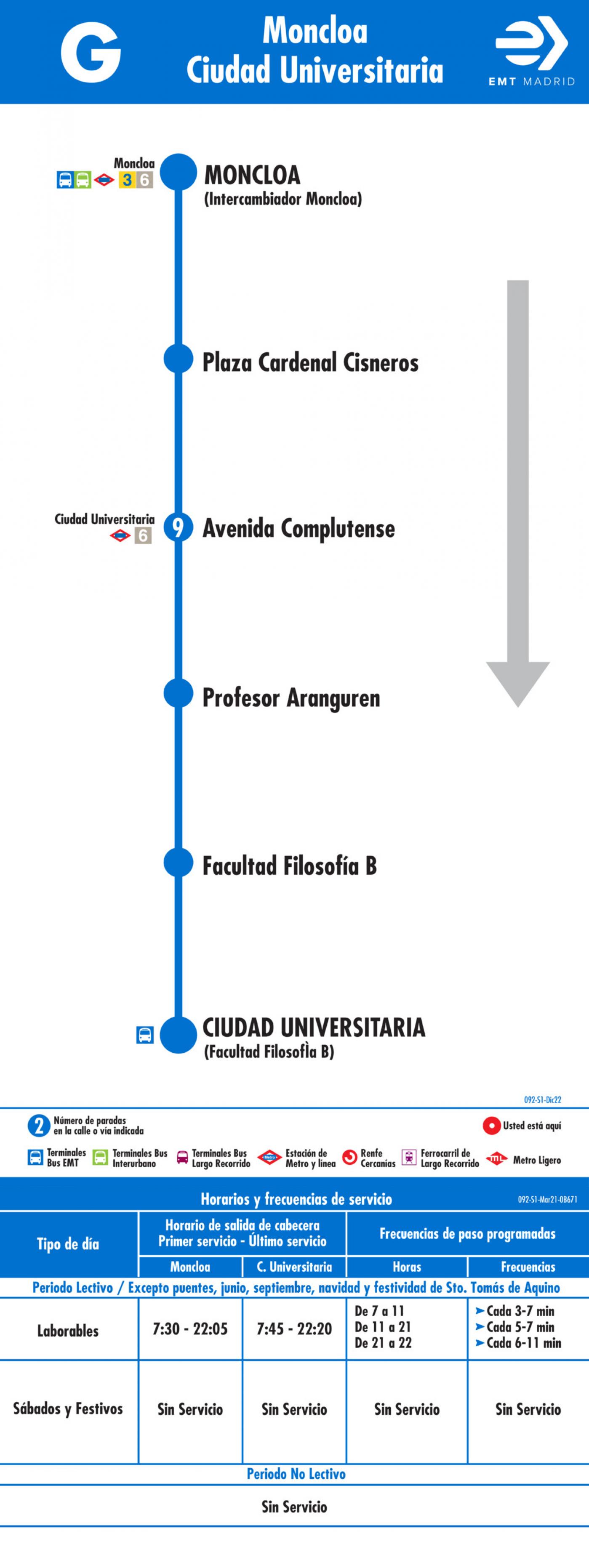 Tabla de horarios y frecuencias de paso en sentido ida Línea G: Moncloa - Ciudad Universitaria