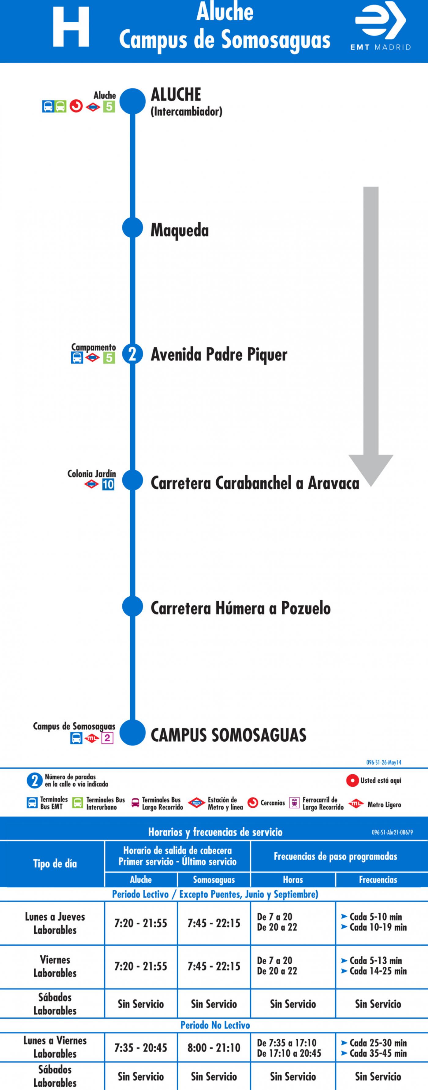 Tabla de horarios y frecuencias de paso en sentido ida Línea H: Aluche - Campus de Somosaguas