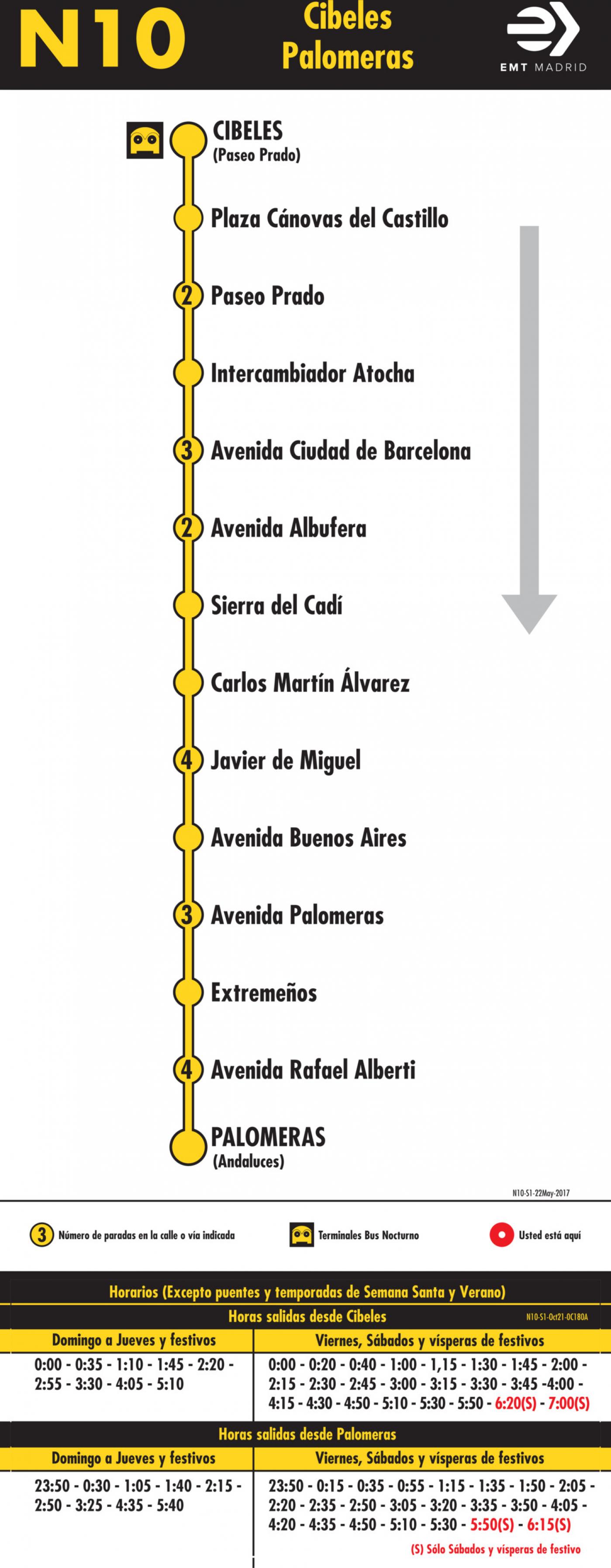 Tabla de horarios y frecuencias de paso en sentido ida Línea N10: Plaza de Cibeles - Palomeras (búho)
