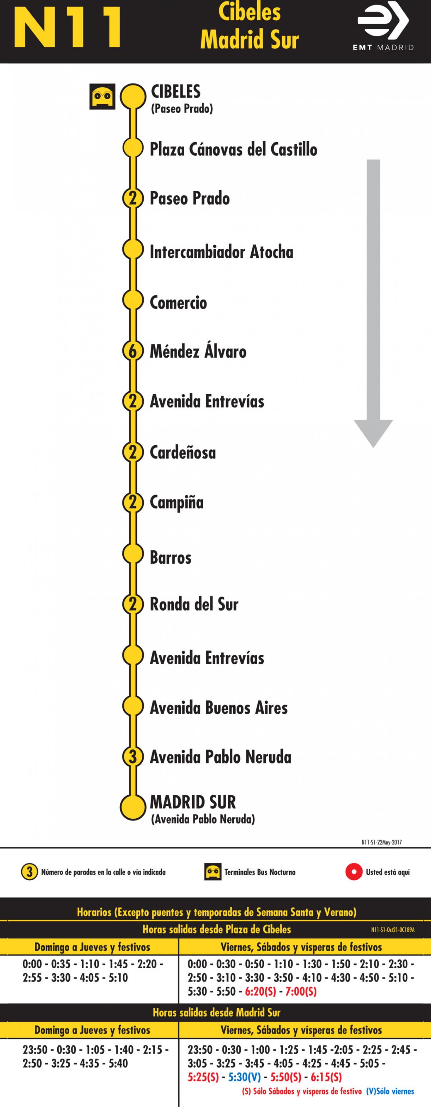 Tabla de horarios y frecuencias de paso en sentido ida Línea N11: Plaza de Cibeles - Madrid Sur (búho)