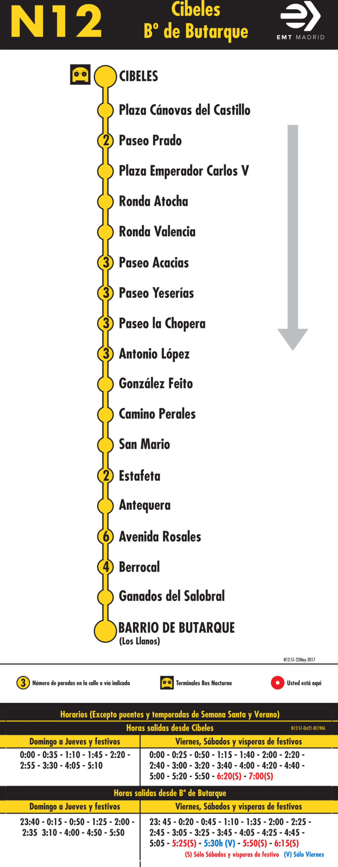 Tabla de horarios y frecuencias de paso en sentido ida Línea N12: Plaza de Cibeles - Los Rosales (búho)