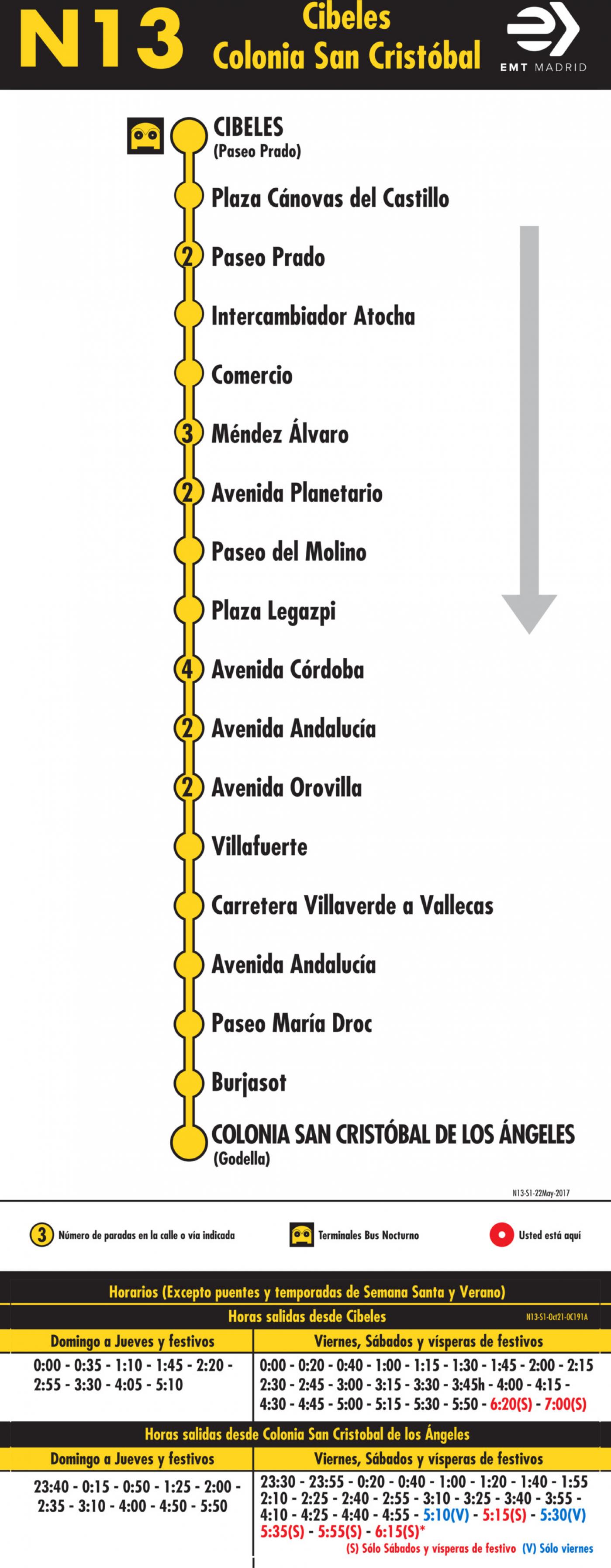 Tabla de horarios y frecuencias de paso en sentido ida Línea N13: Plaza de Cibeles - Colonia San Cristóbal de los Ángeles (búho)