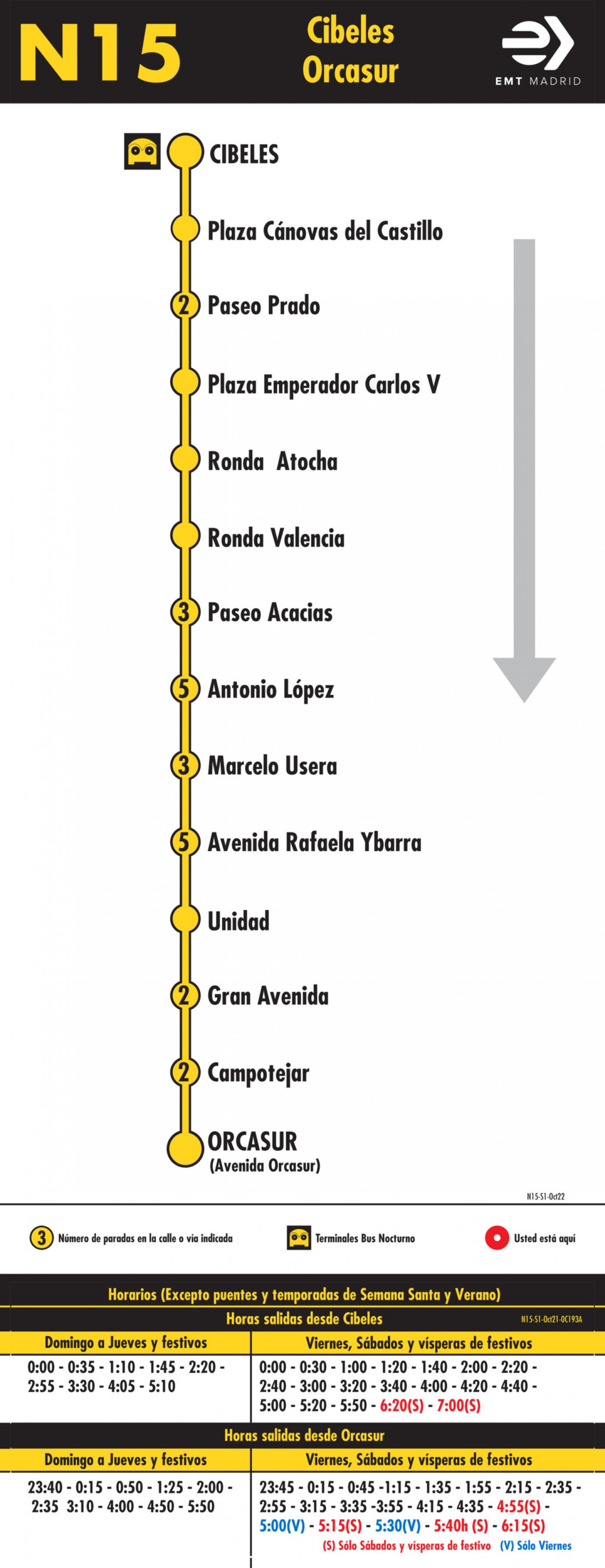 Tabla de horarios y frecuencias de paso en sentido ida Línea N15: Plaza de Cibeles - Orcasur (búho)