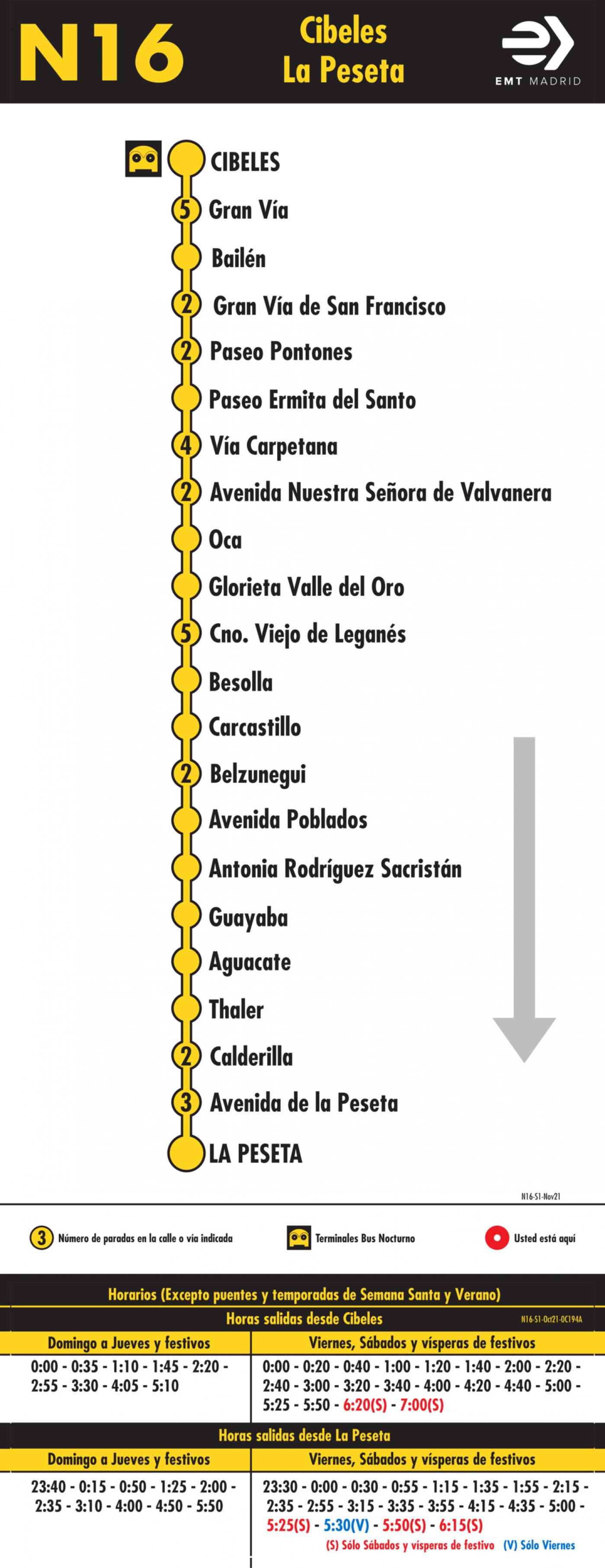 Tabla de horarios y frecuencias de paso en sentido ida Línea N16: Plaza de Cibeles - Avenida de la Peseta (búho)