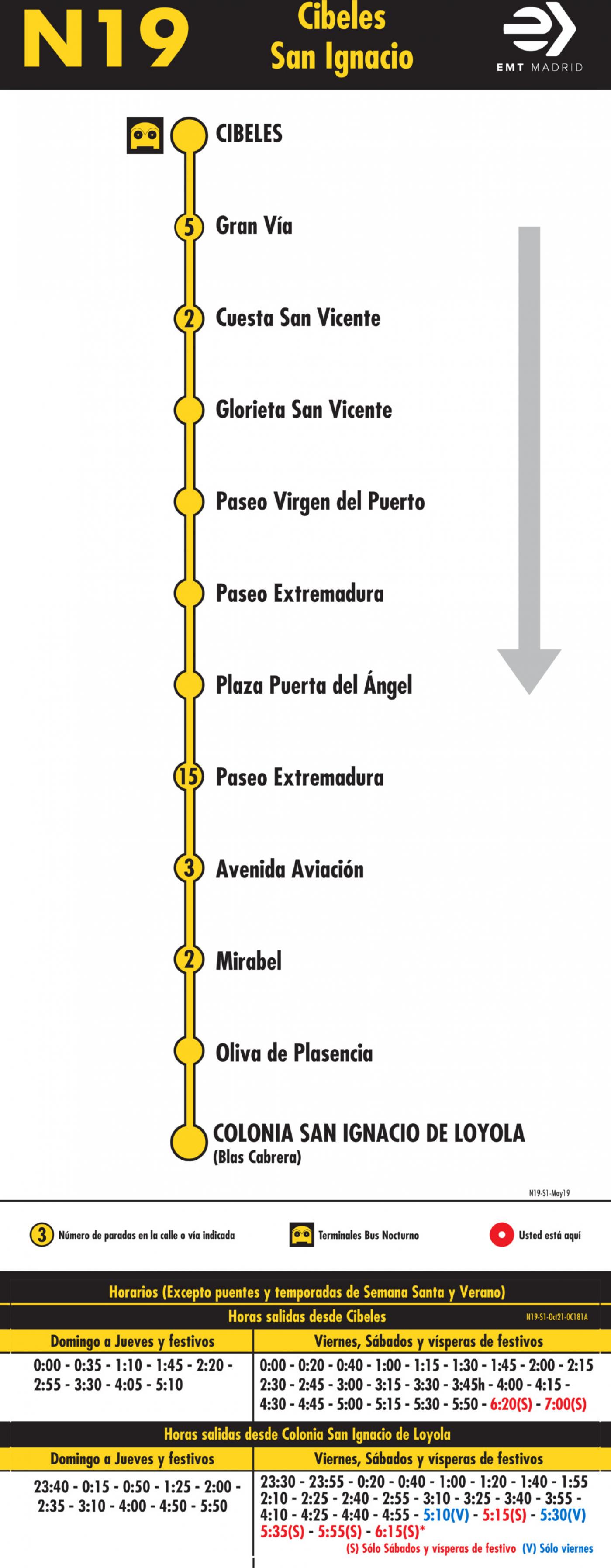 Tabla de horarios y frecuencias de paso en sentido ida Línea N19: Plaza de Cibeles - Colonia San Ignacio de Loyola (búho)
