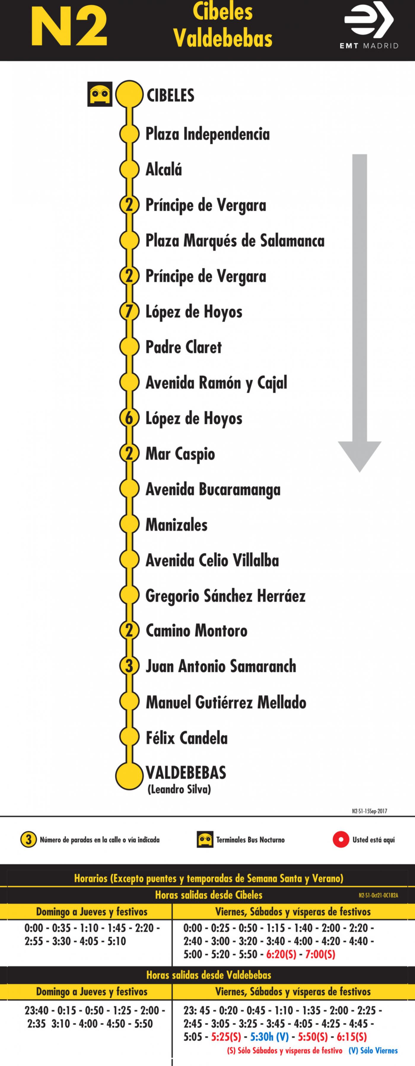 Tabla de horarios y frecuencias de paso en sentido ida Línea N2: Plaza de Cibeles - Hortaleza (búho)