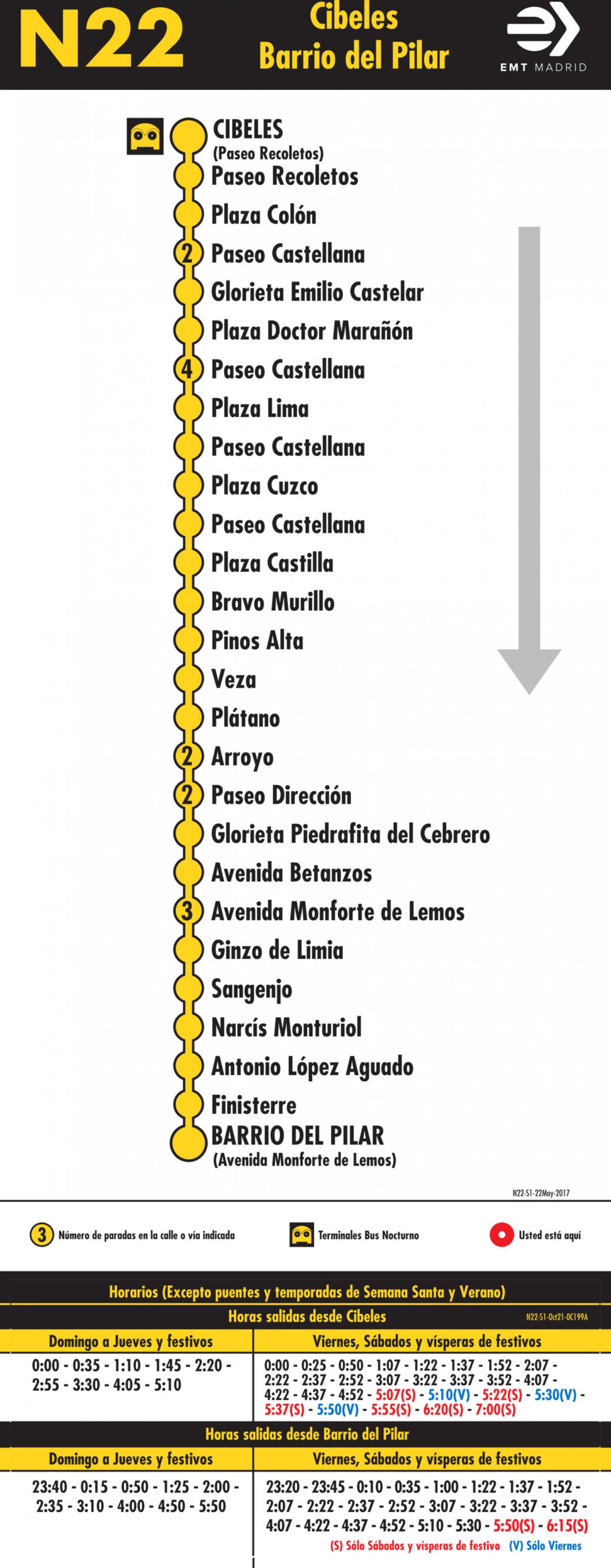 Tabla de horarios y frecuencias de paso en sentido ida Línea N22: Plaza de Cibeles - Barrio del Pilar (búho)