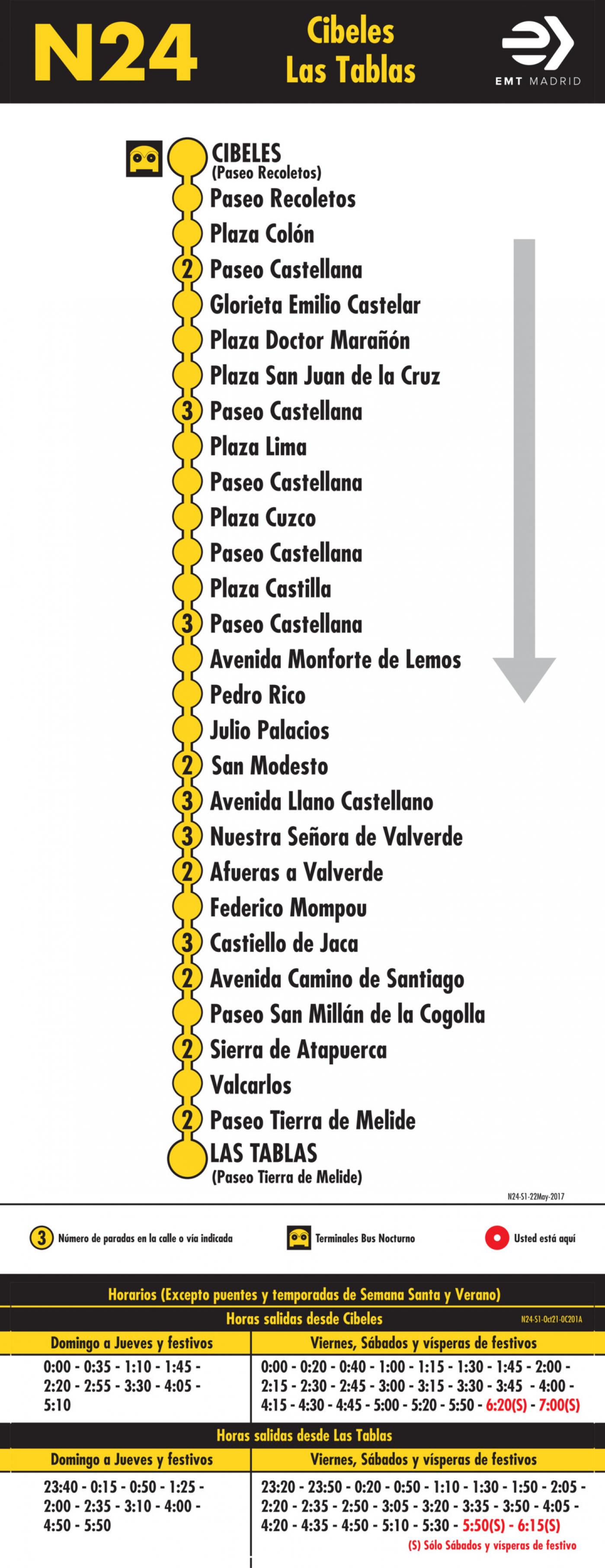 Tabla de horarios y frecuencias de paso en sentido ida Línea N24: Plaza de Cibeles - Las Tablas (búho)